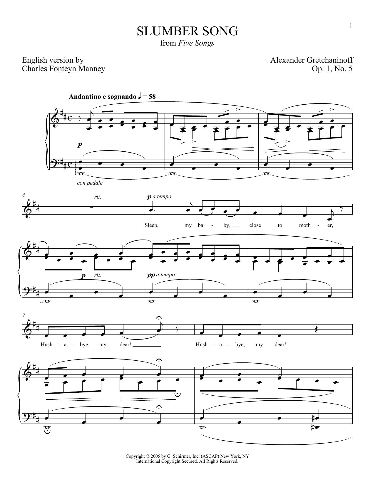 Slumber Song (Berceuse) (Piano & Vocal)