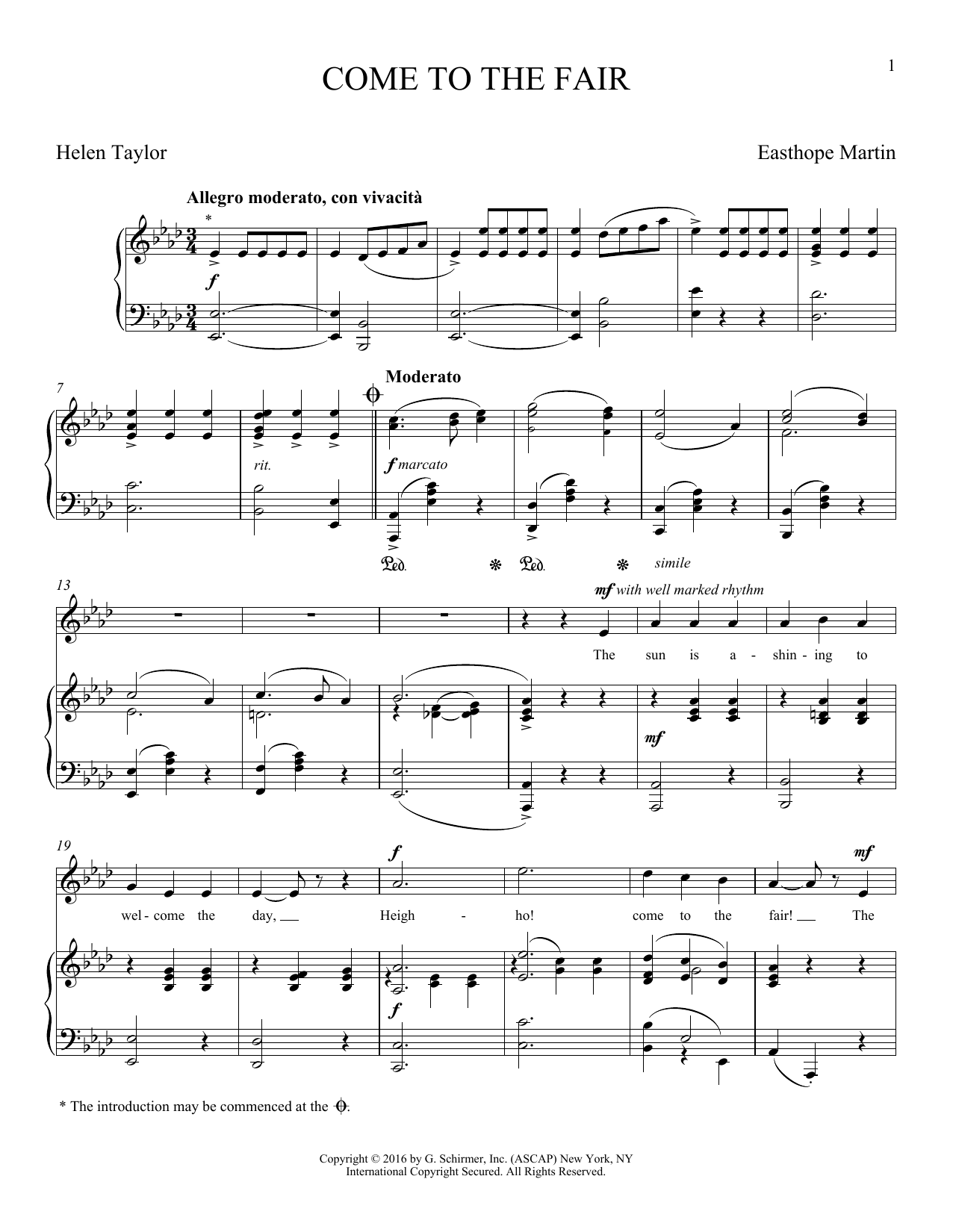 Come To The Fair (Piano & Vocal)