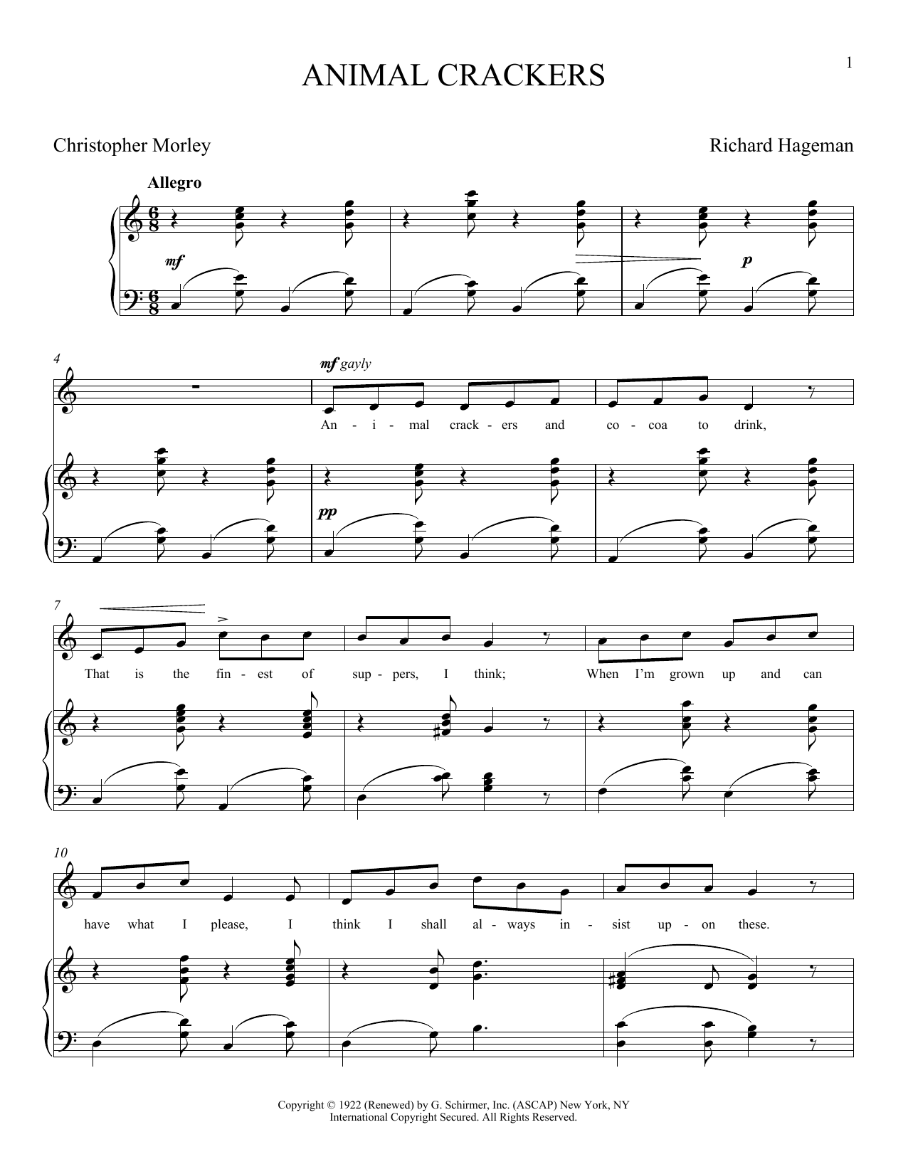 Animal Crackers (Piano & Vocal)