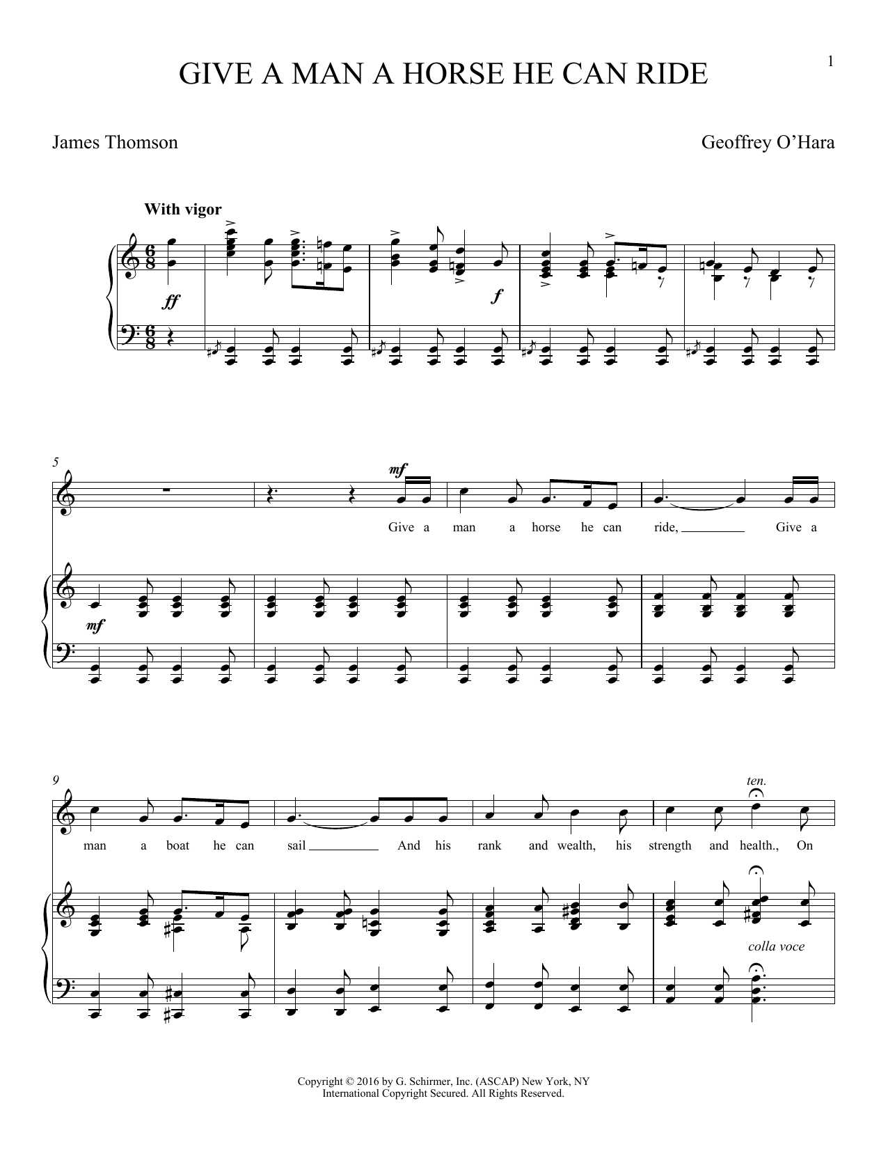 Give A Man A Horse He Can Ride (O'Hara) (Piano & Vocal)