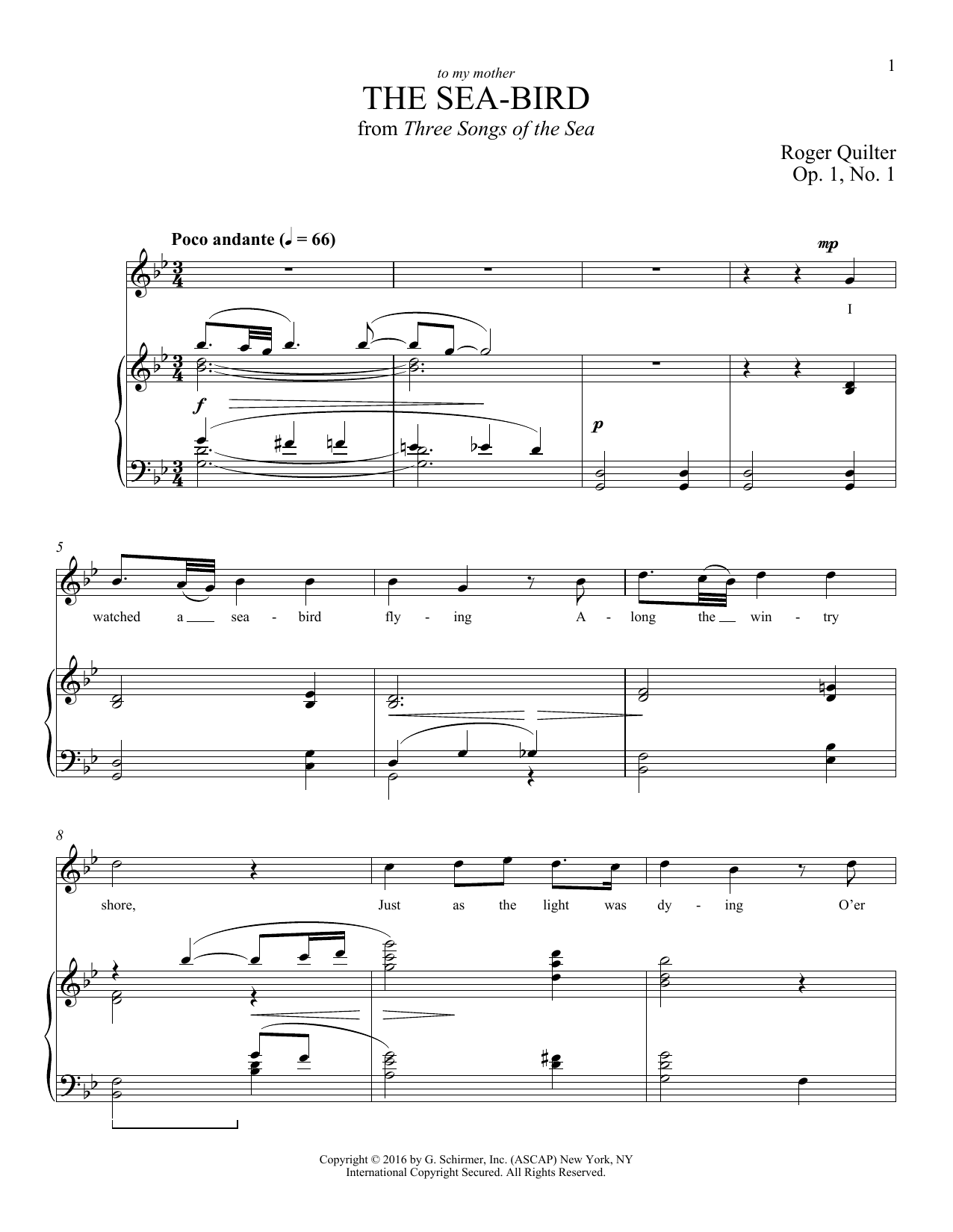 Partition piano The Sea-Bird de Roger Quilter - Piano Voix