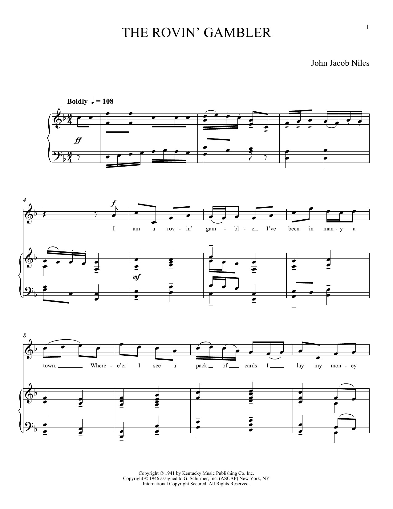 The Rovin' Gambler (Piano & Vocal)
