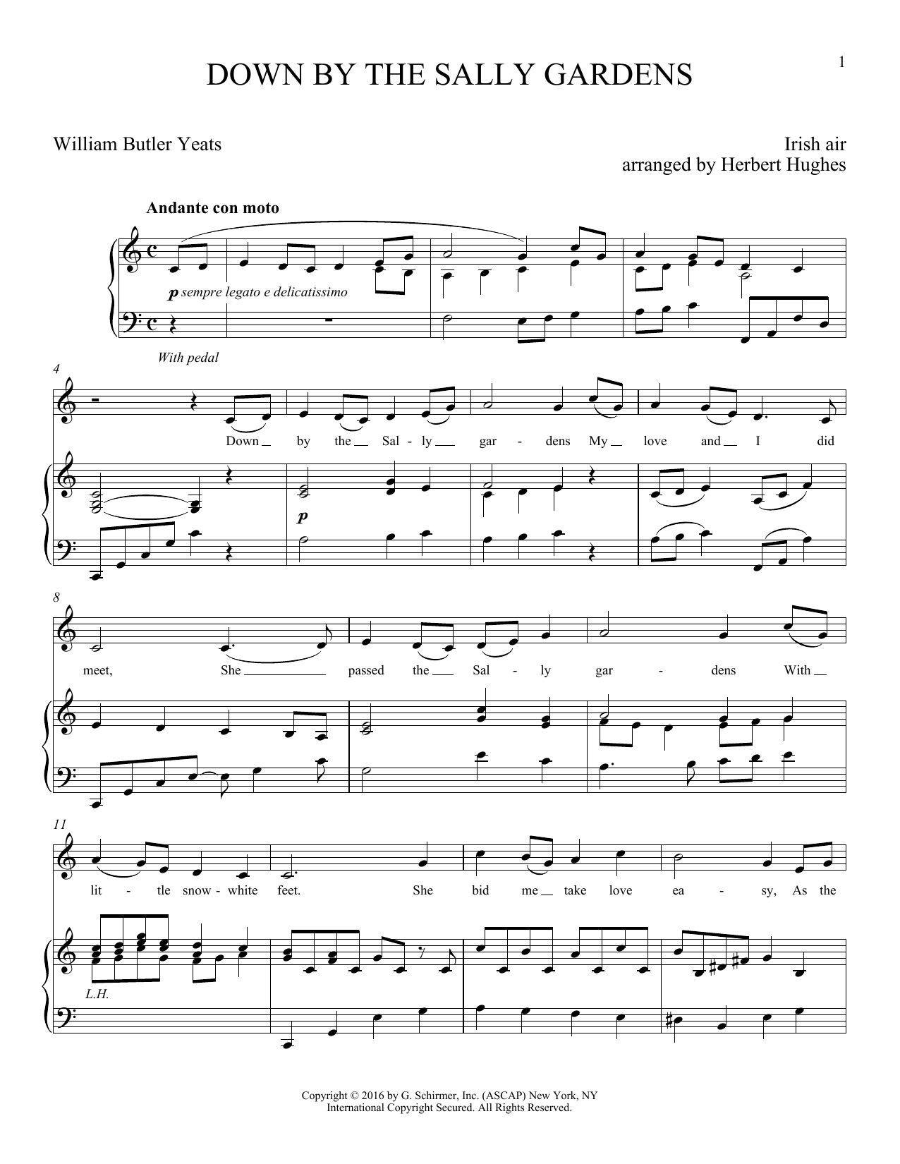 Partition piano Down By The Sally Gardens de Herbert Hughes - Piano Voix