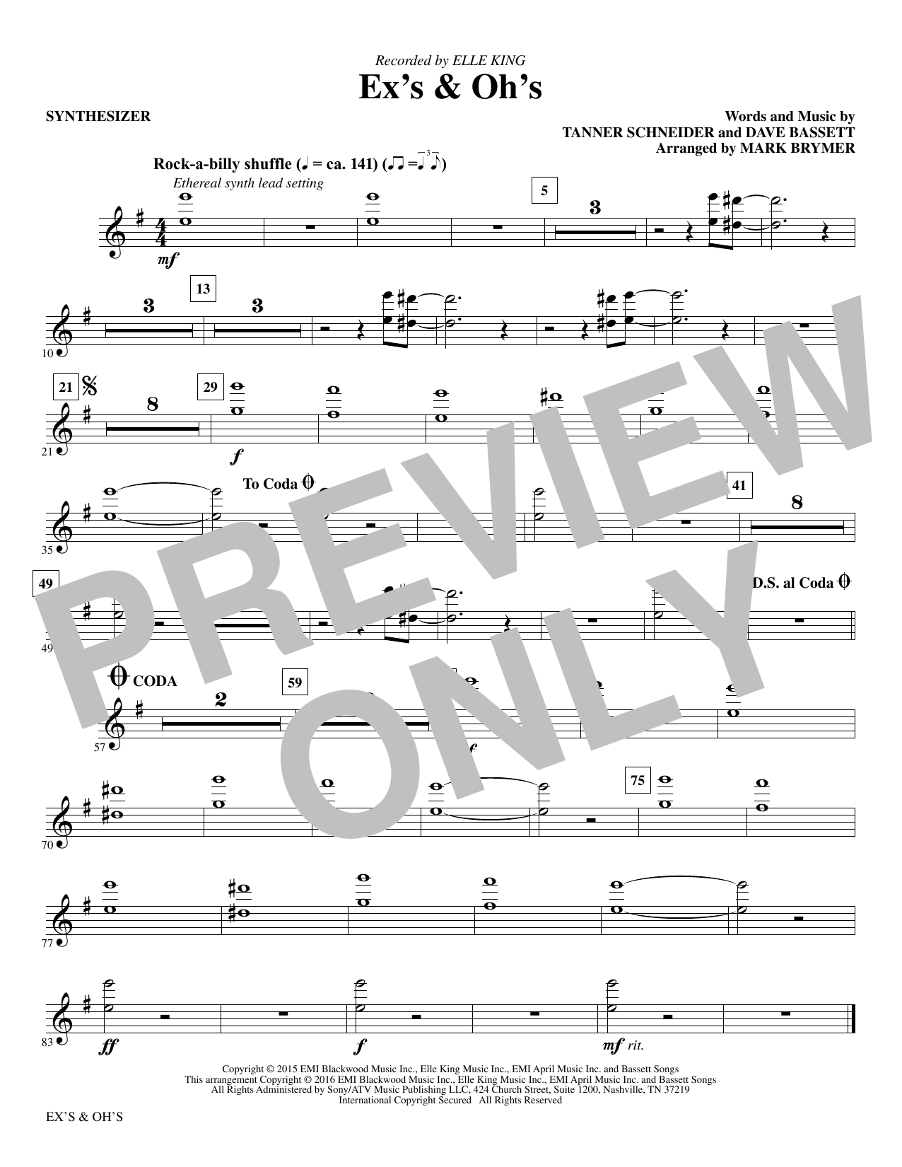 Ex's and Oh's (complete set of parts) sheet music for orchestra/band by Mark Brymer, Dave Bassett and Elle King. Score Image Preview.