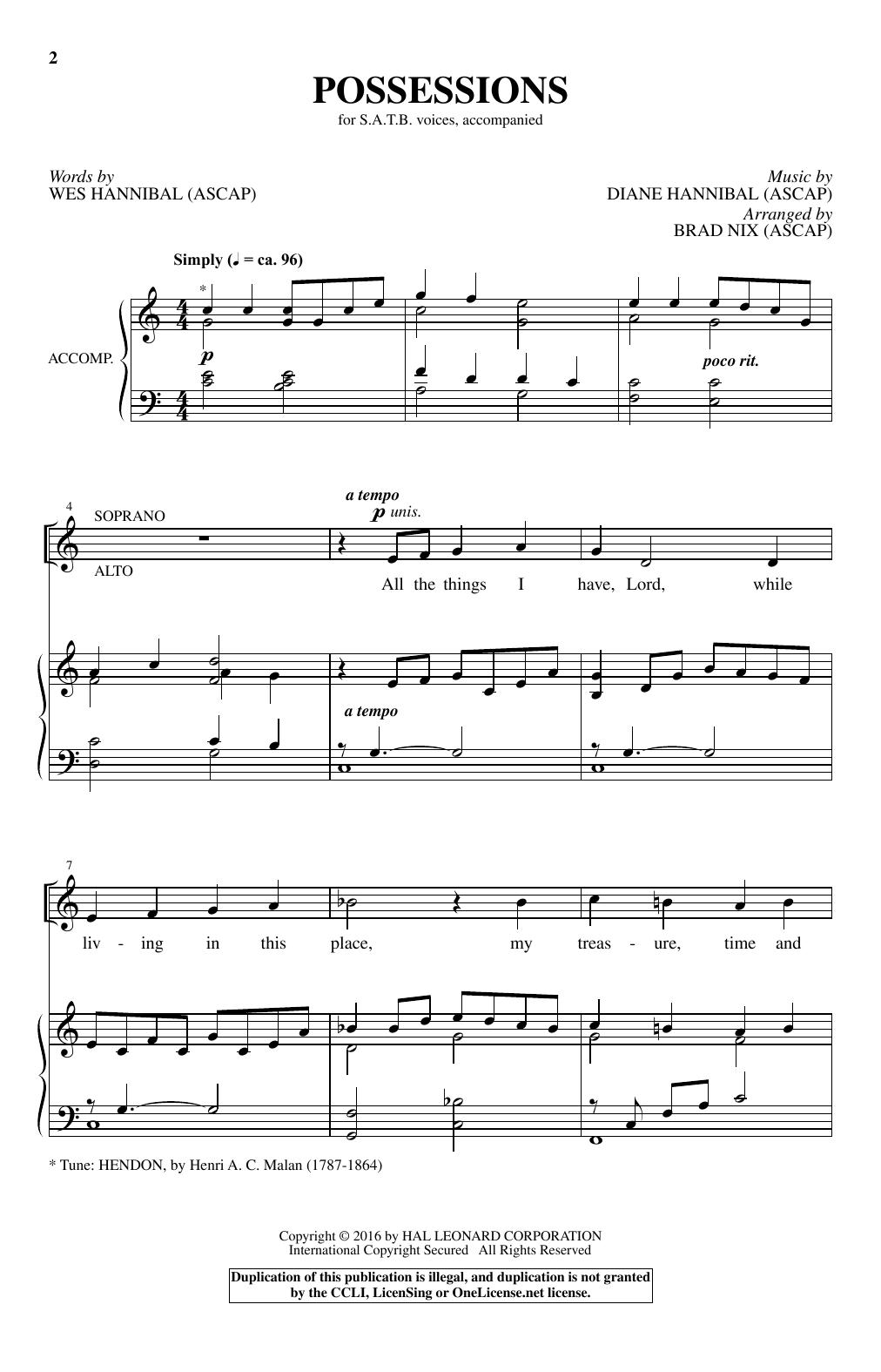 Possessions (SATB Choir)