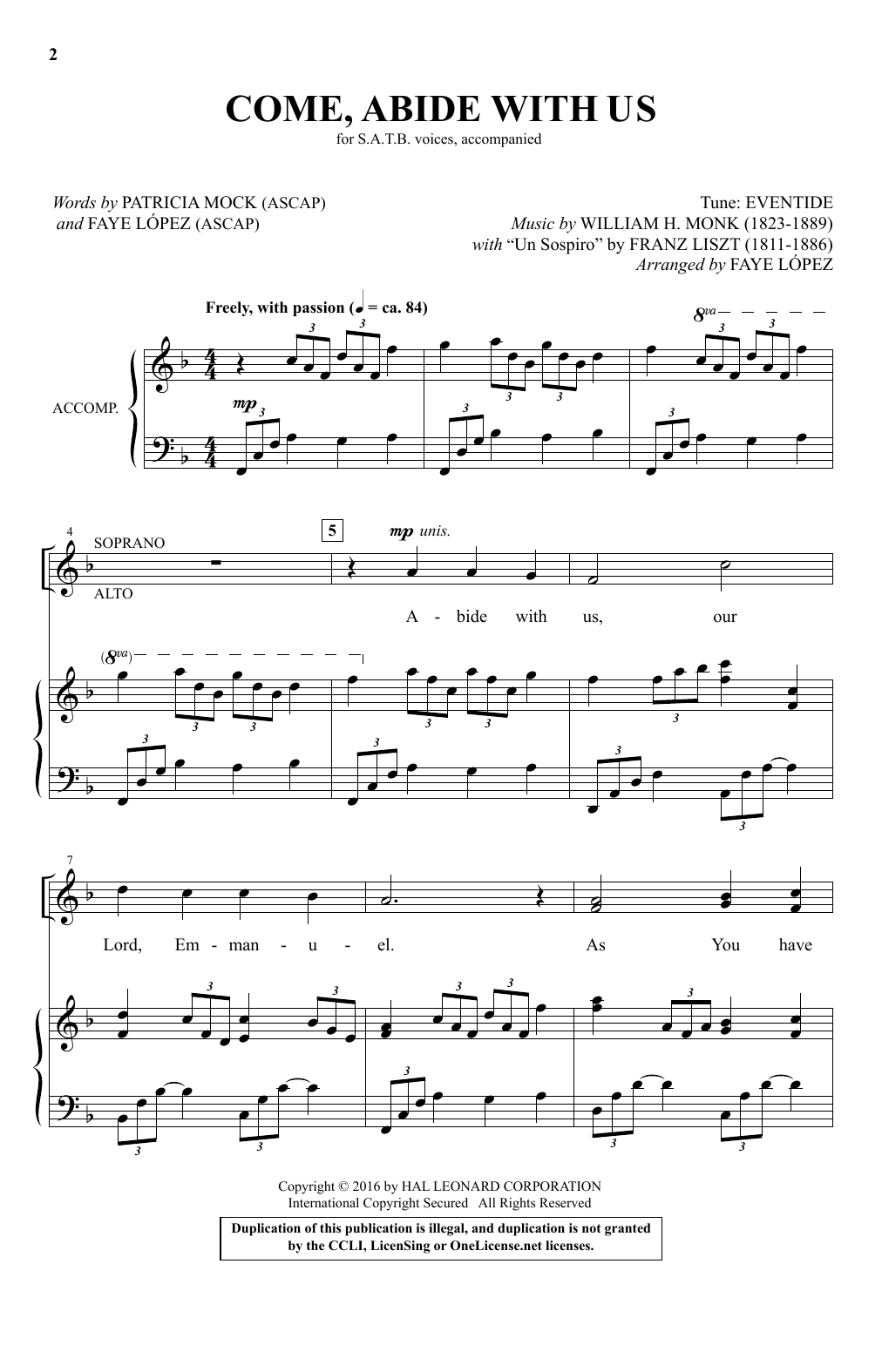 Come, Abide With Us (arr. Faye Lopez) Sheet Music