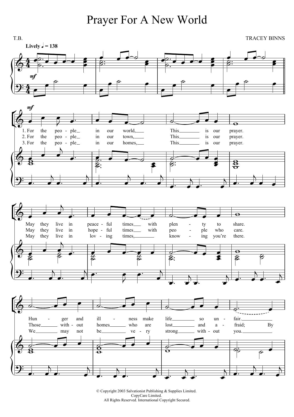 Prayer For A New World Sheet Music
