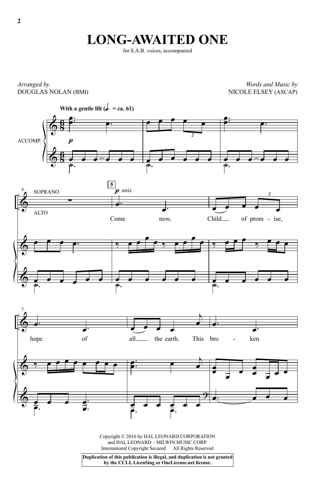 Partition chorale Long-Awaited One (arr. Douglas Nolan) de Nicole Elsey - SAB