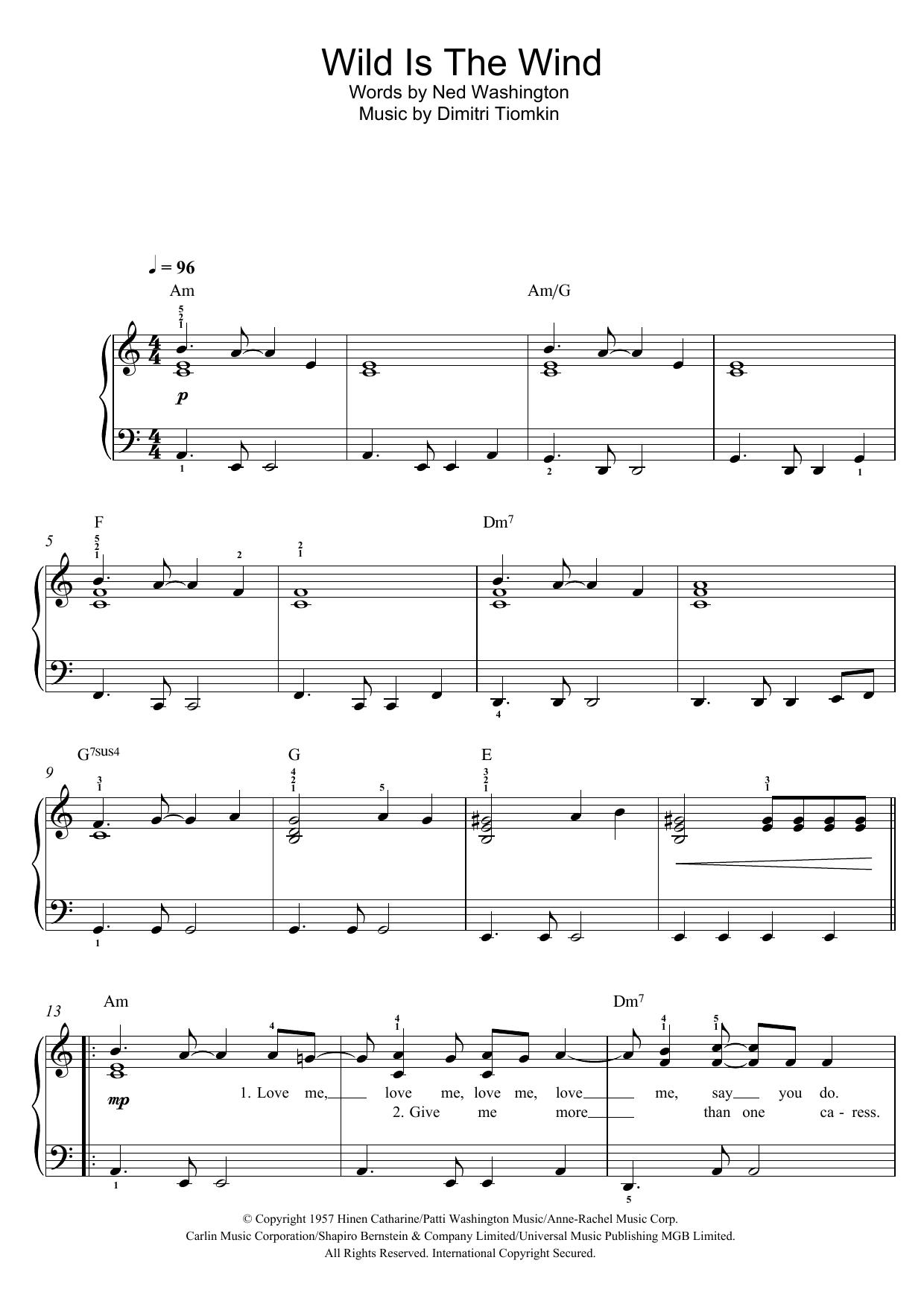 Wild Is The Wind Noten   David Bowie   Klavier, Gesang & Gitarre