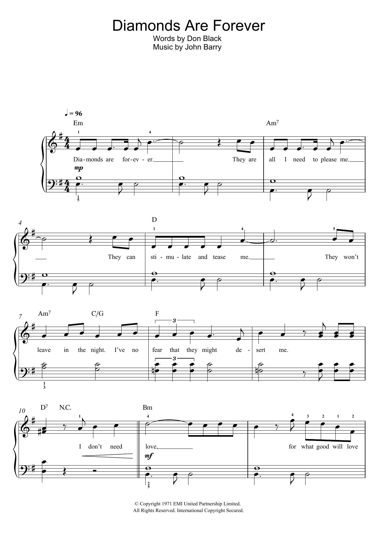 Diamonds Are Forever (Piano, Vocal & Guitar)