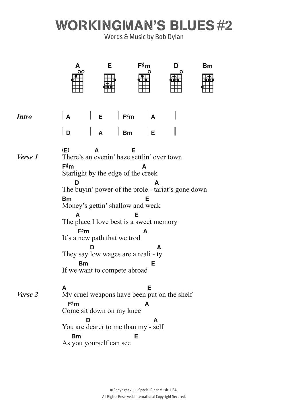 Workingman's Blues # 2 Sheet Music