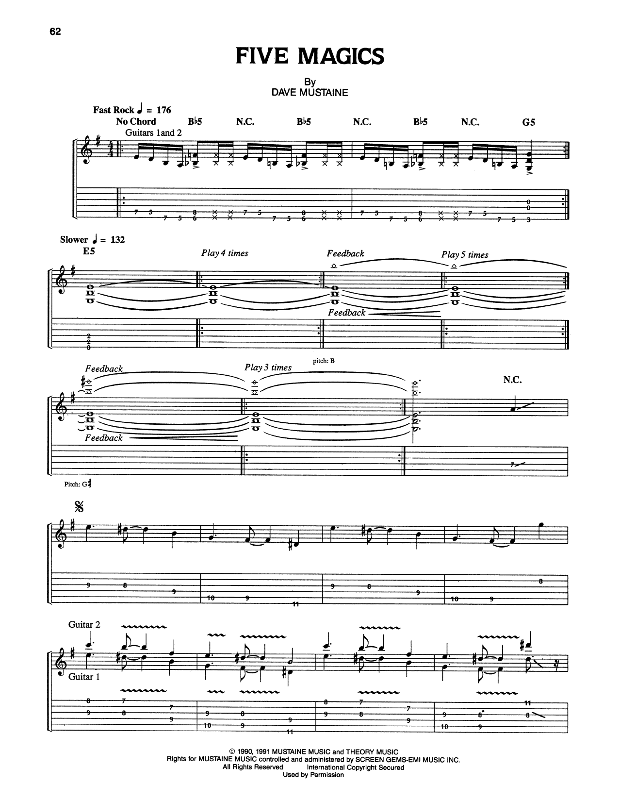 Tablature guitare Five Magics de Megadeth - Tablature Guitare