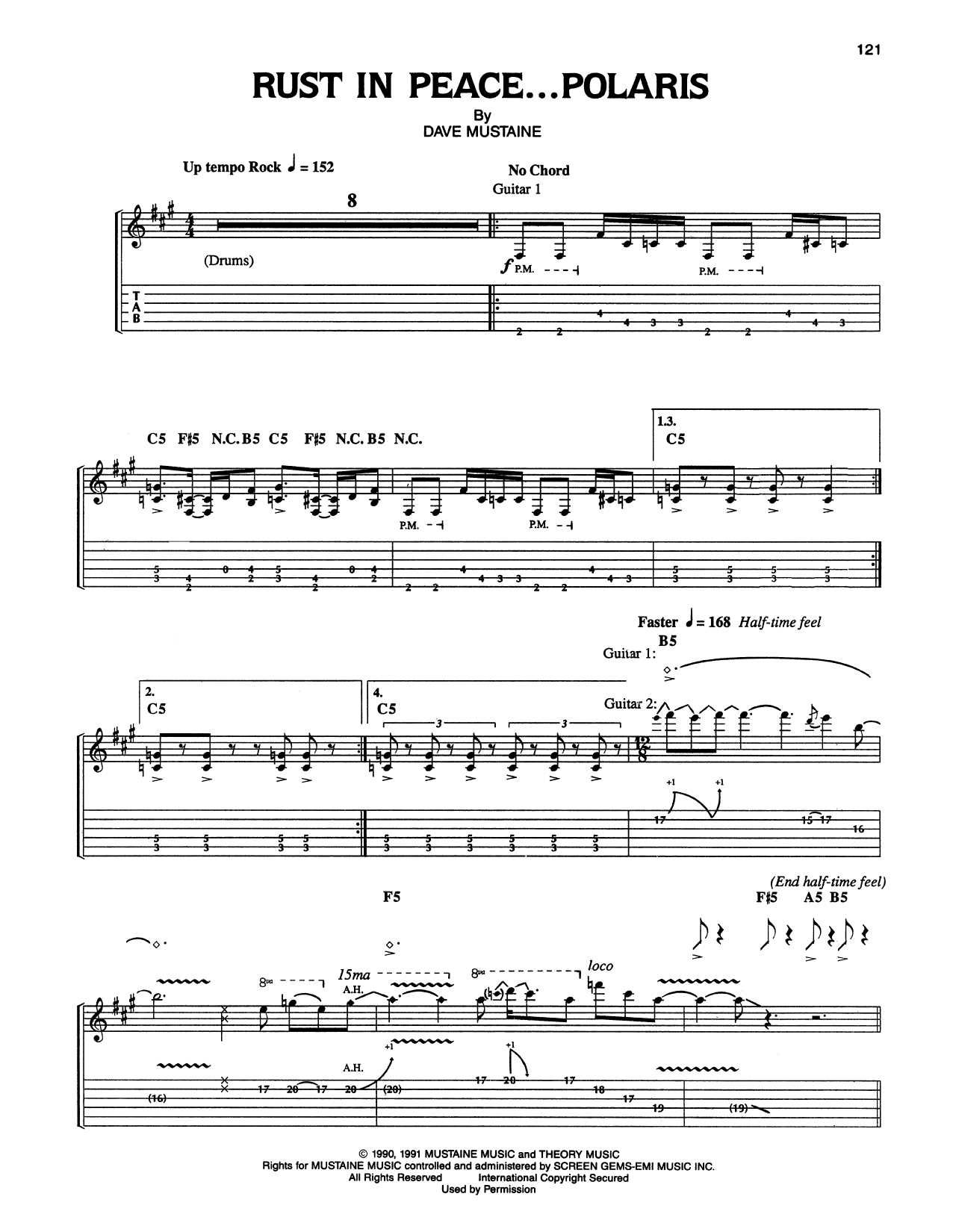 Tablature guitare Rust In Peace...Polaris de Megadeth - Tablature Guitare