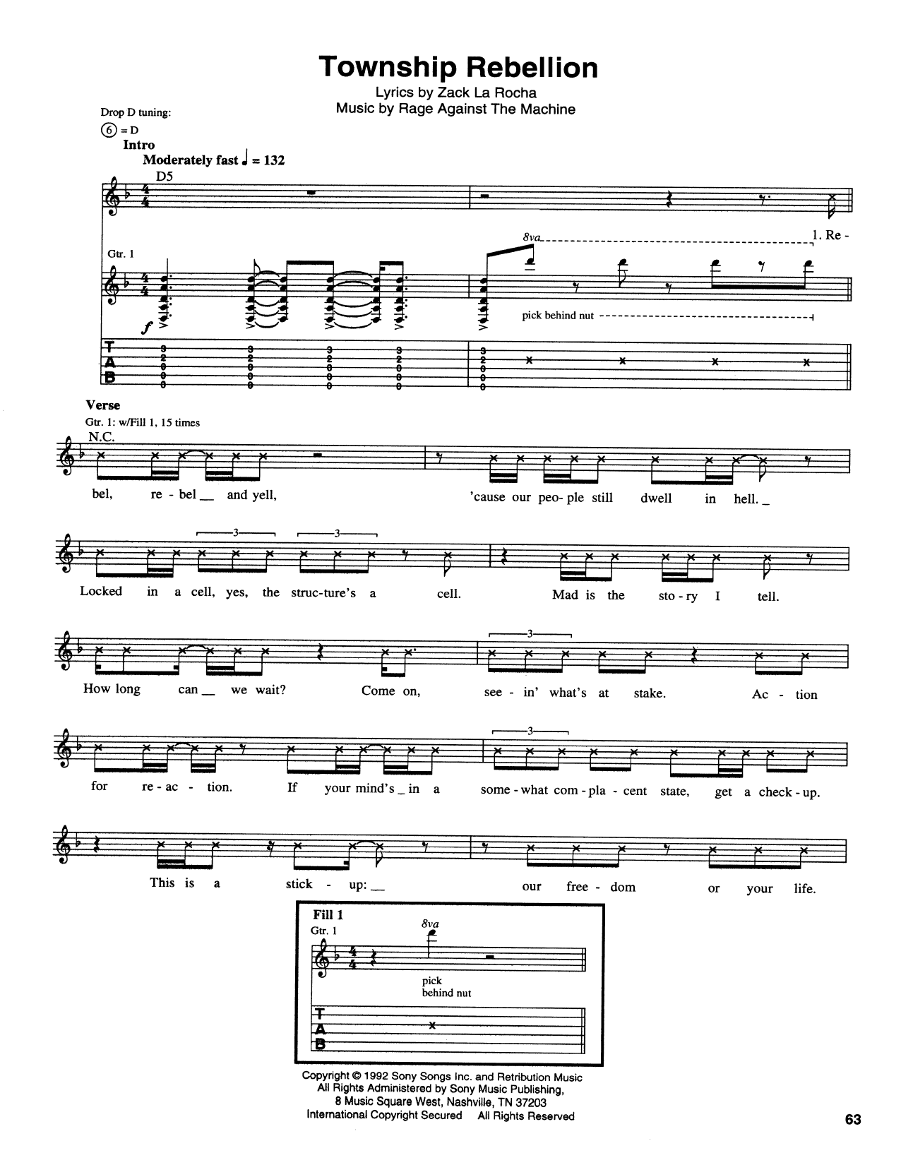 Tablature guitare Township Rebellion de Rage Against The Machine - Tablature Guitare
