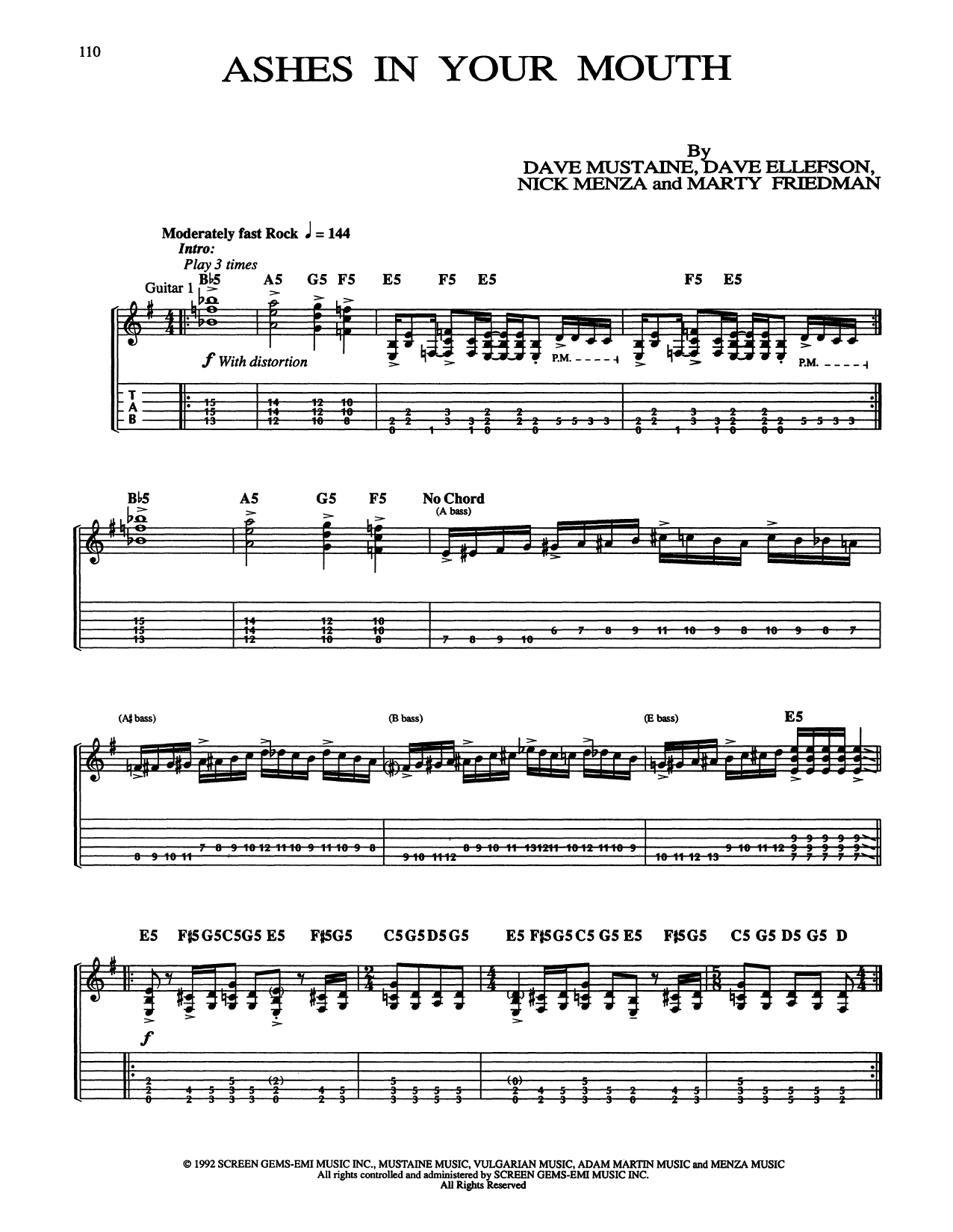 Ashes In Your Mouth (Guitar Tab)