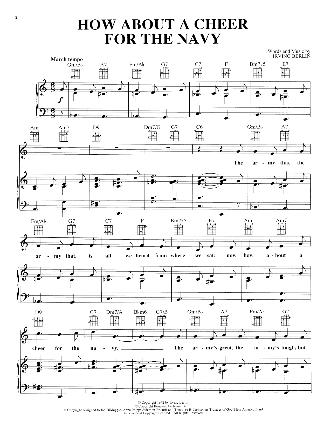 How About A Cheer For The Navy (Piano, Vocal & Guitar (Right-Hand Melody))