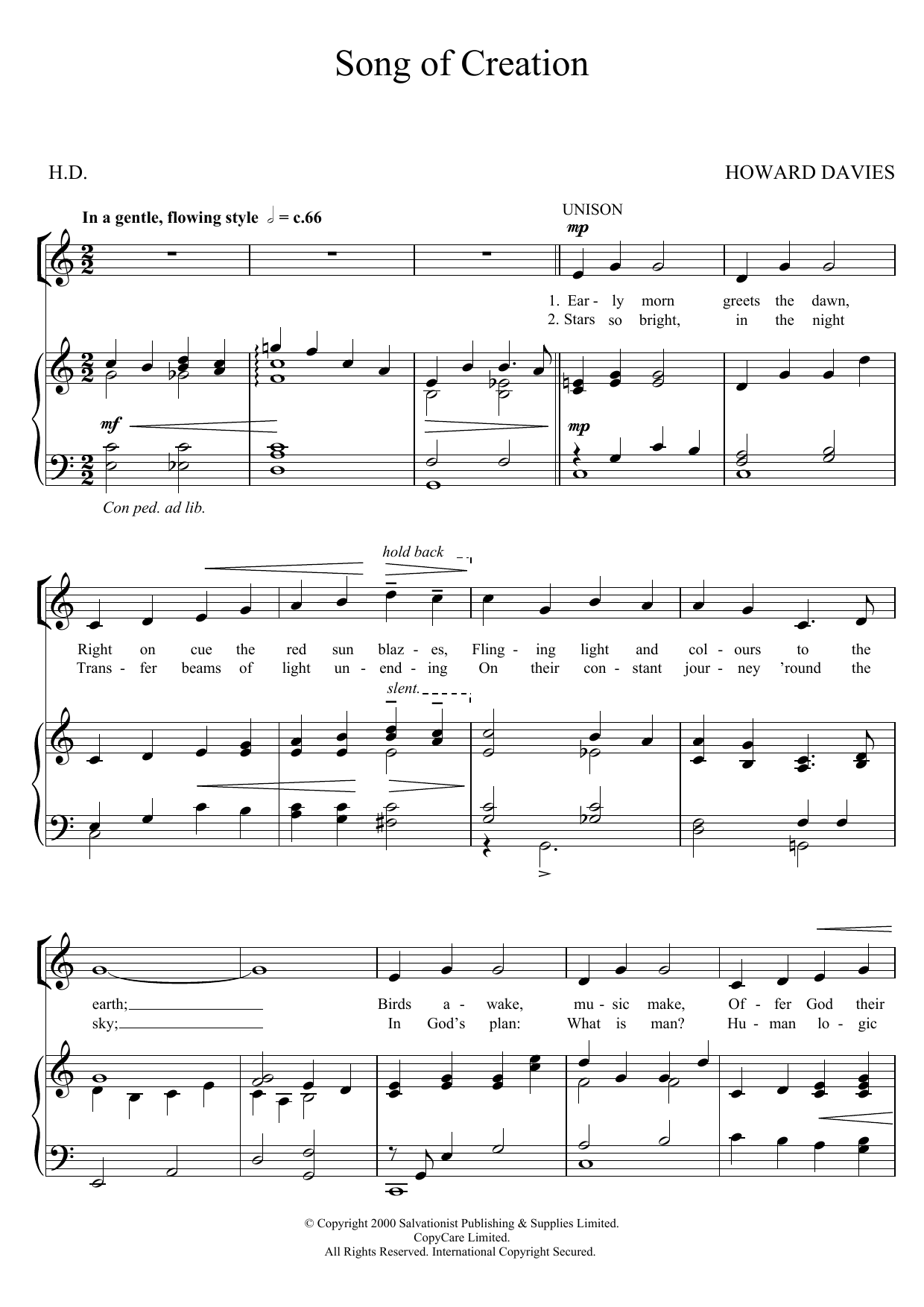 Song Of Creation Sheet Music