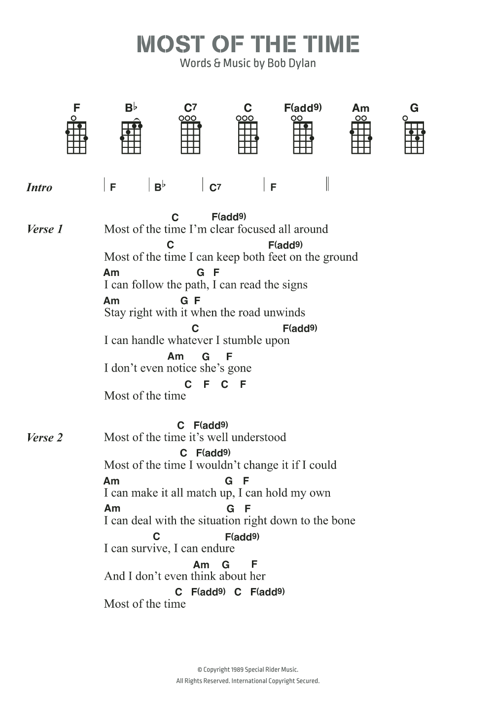 Most Of The Time Sheet Music