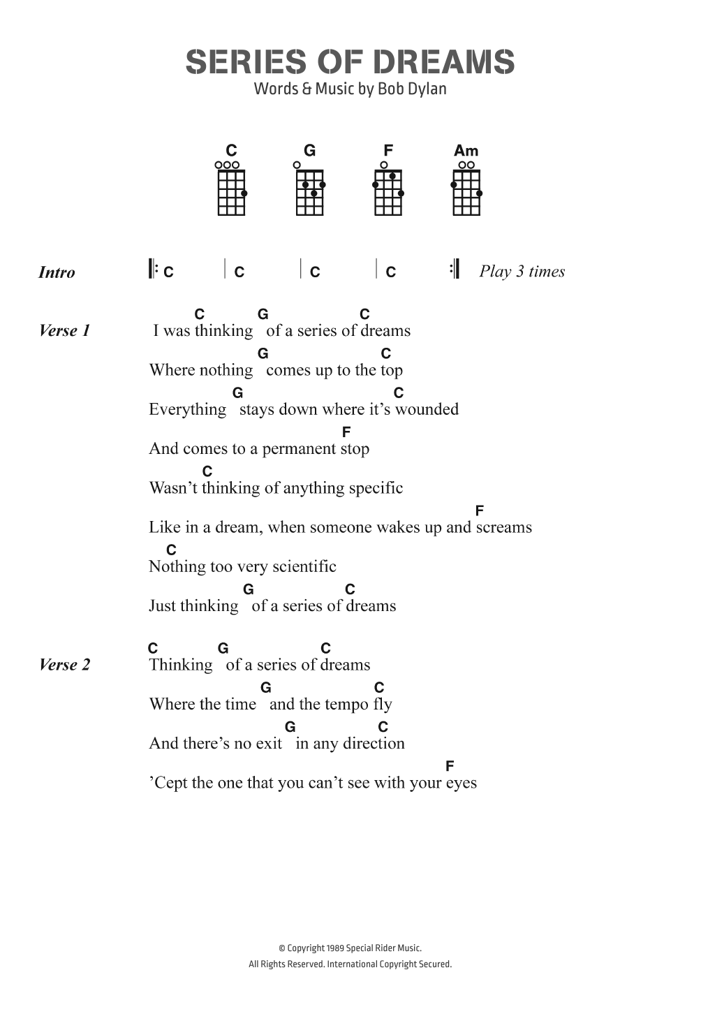 Series Of Dreams Sheet Music