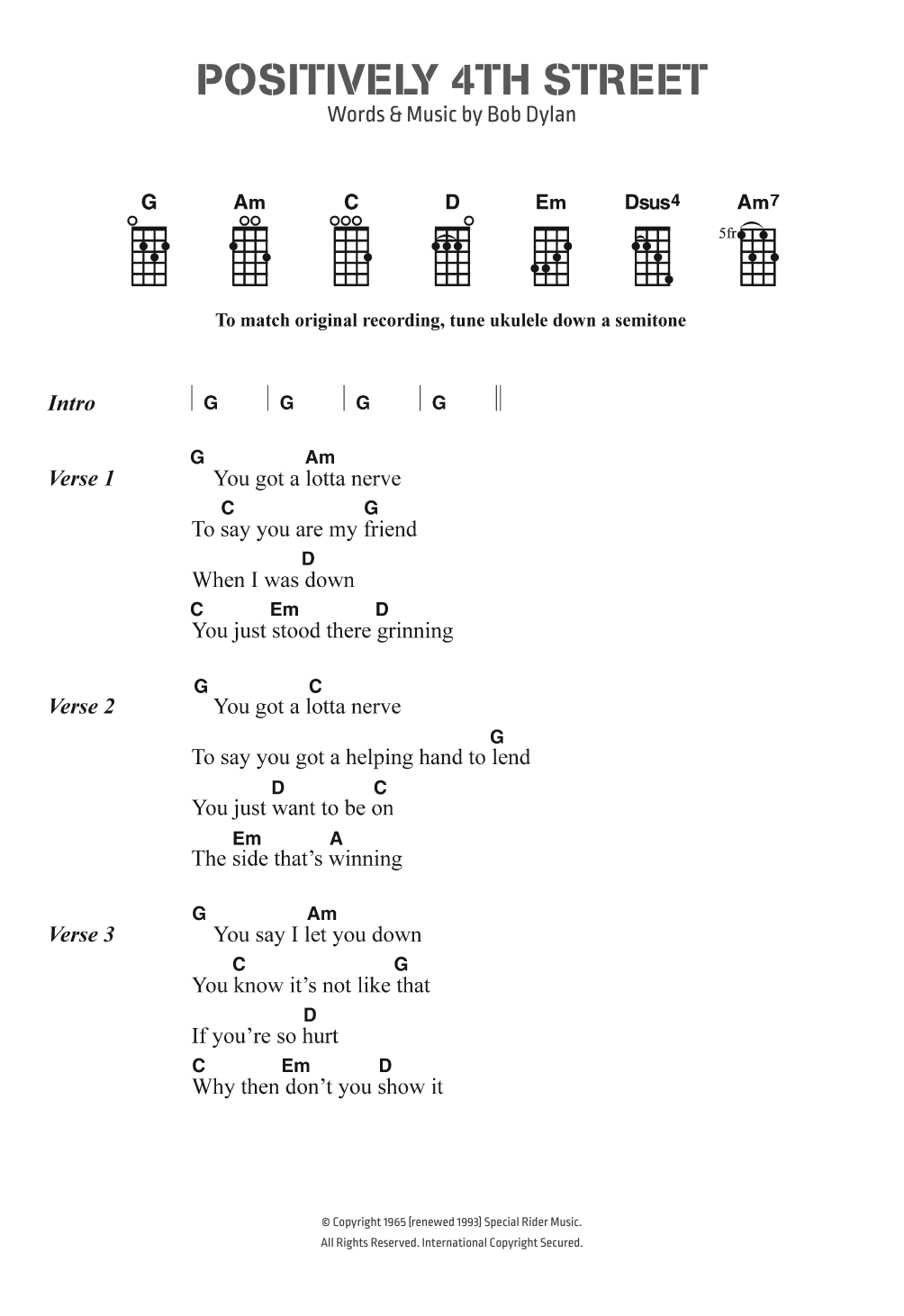 Positively 4th Street Sheet Music