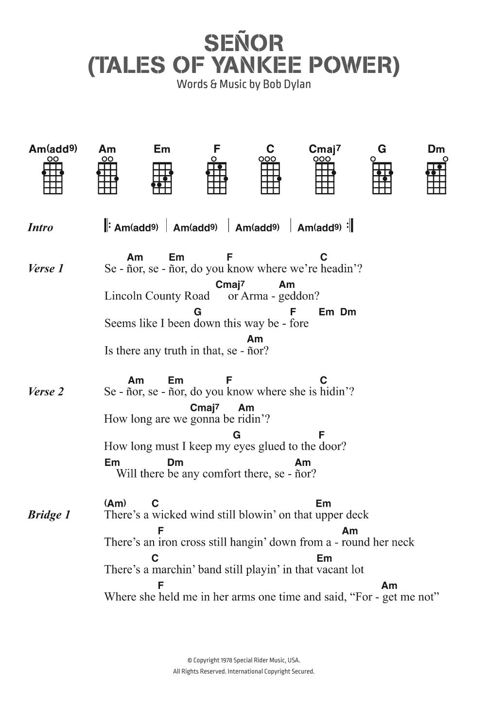 Senor (Tales Of Yankee Power) Sheet Music