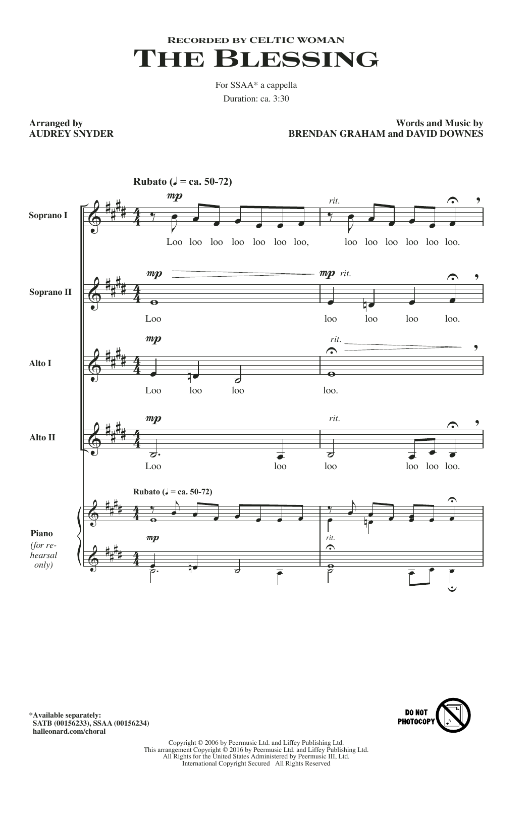 Blessing Sheet Music To Print For Piano