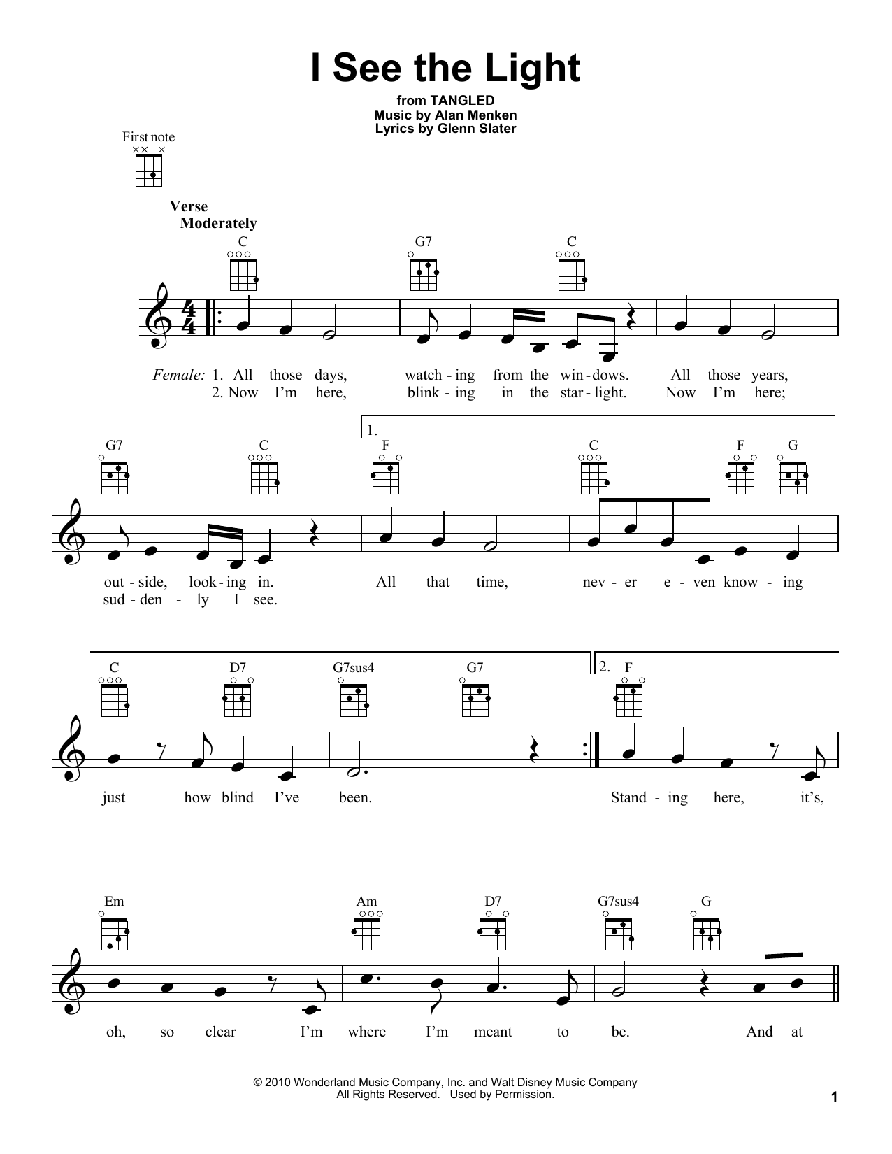 Tablature guitare I See The Light de Alan Menken - Ukulele