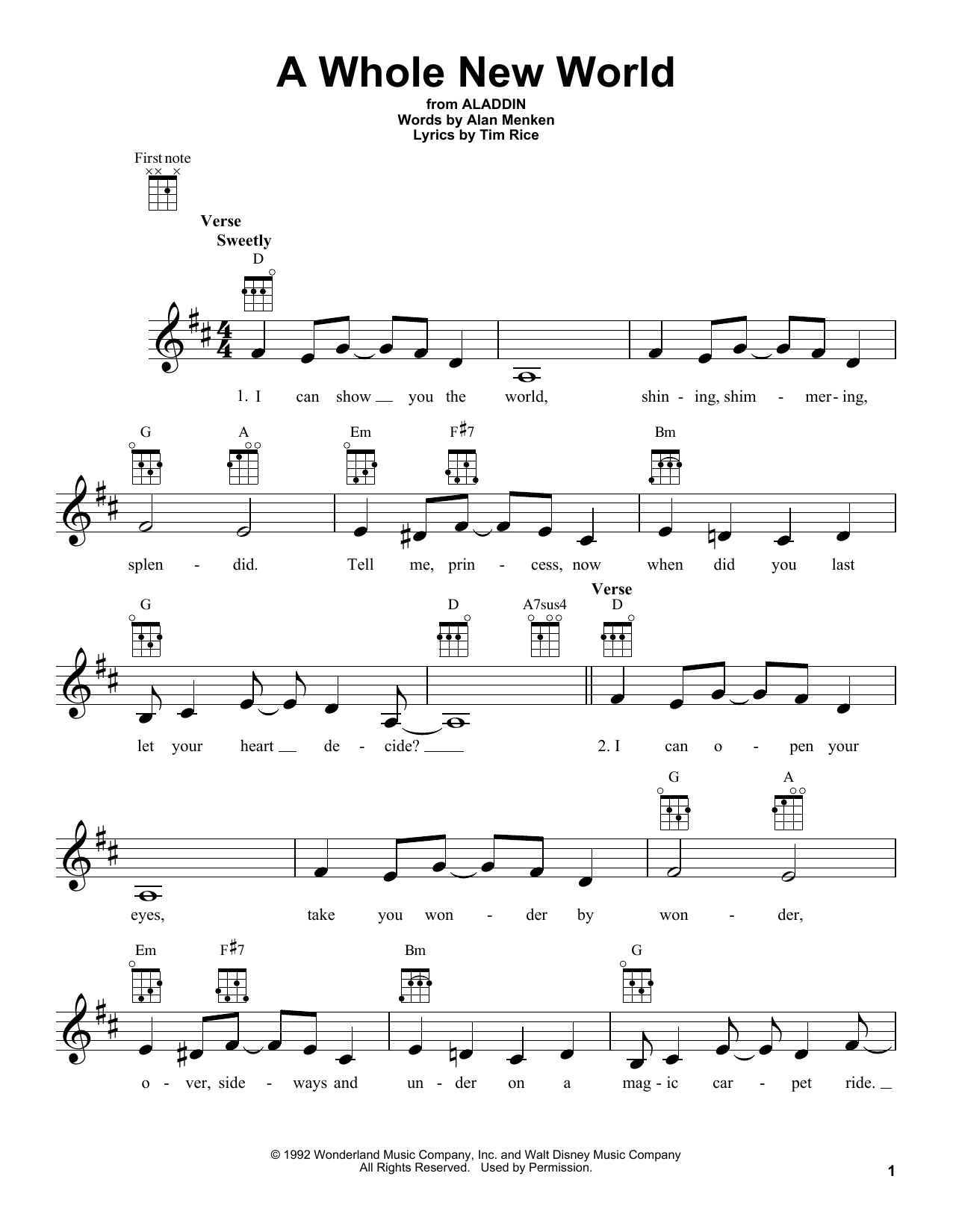 Tablature guitare A Whole New World de Tim Rice - Ukulele