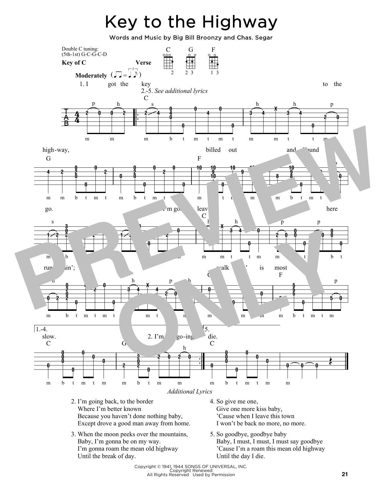 Key To The Highway Sheet Music