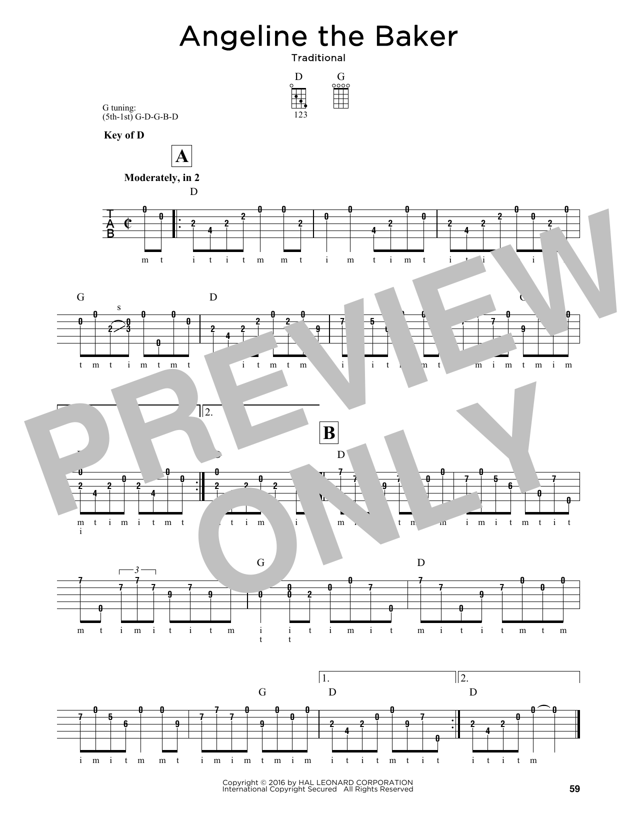 Angeline The Baker Sheet Music