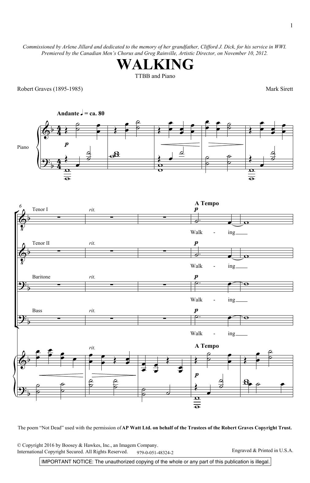 Walking (TTBB Choir)