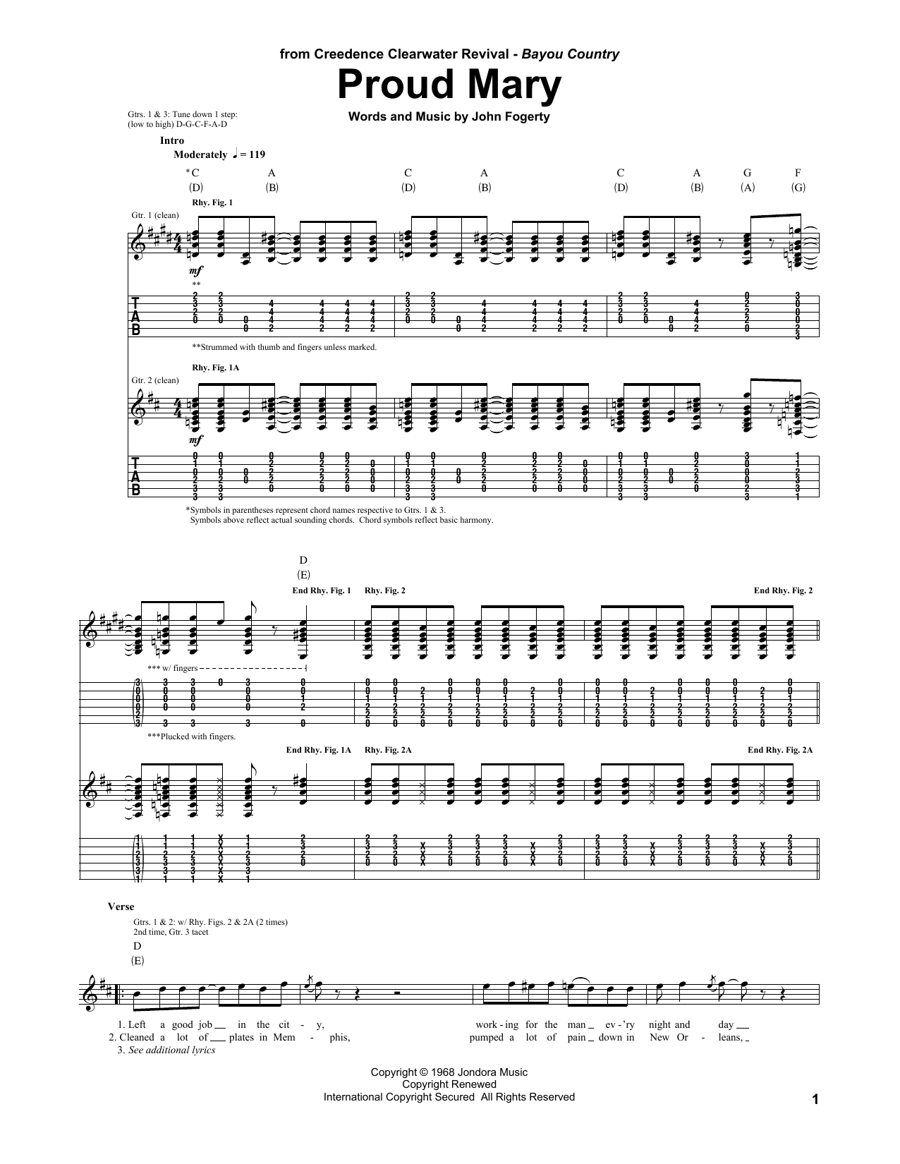 Tablature guitare Proud Mary de Creedence Clearwater Revival - Tablature Guitare