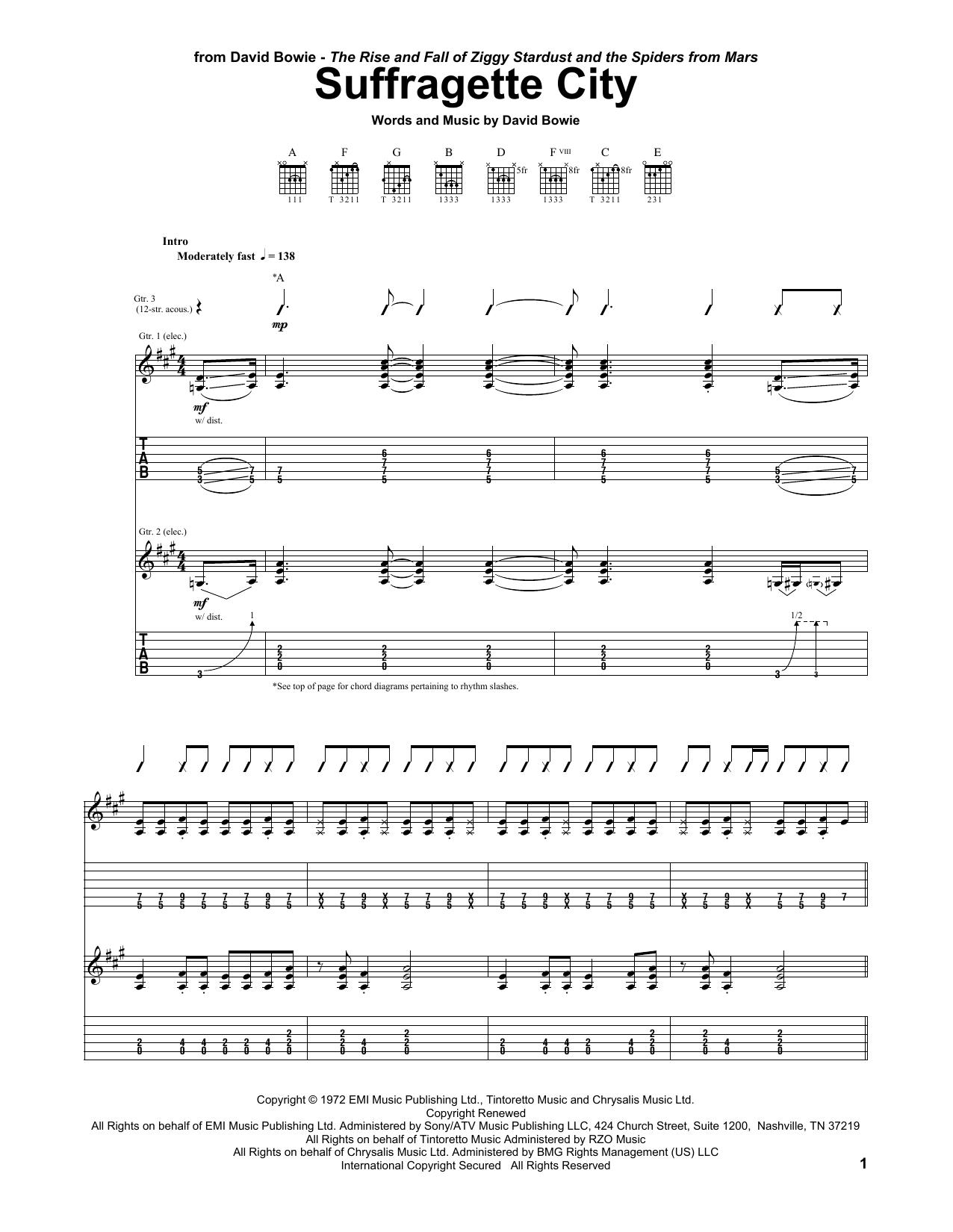 Tablature guitare Suffragette City de David Bowie - Tablature Guitare