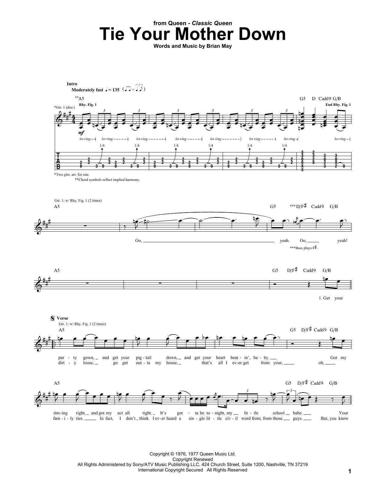 Tie Your Mother Down Guitar Tab By Queen Guitar Tab 170597