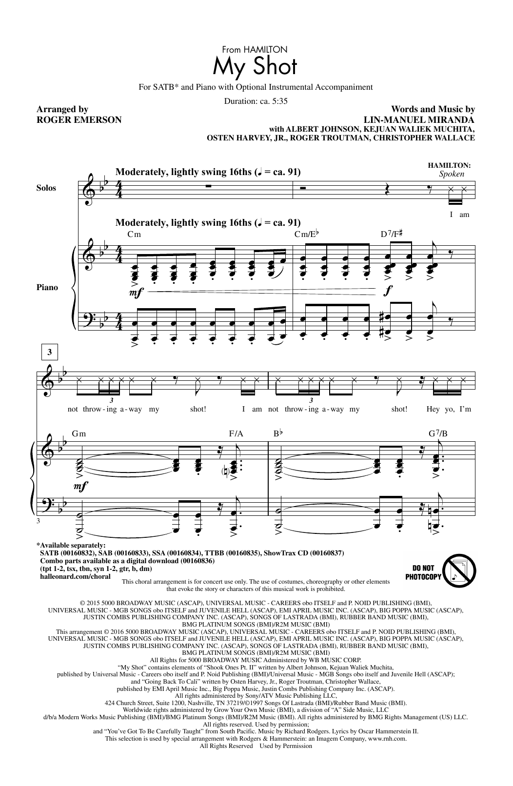 My Shot (from 'Hamilton') (arr. Roger Emerson) Sheet Music
