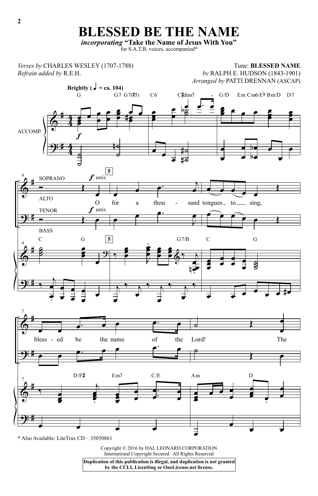 Partition chorale Blessed Be The Name de Patti Drennan - SATB