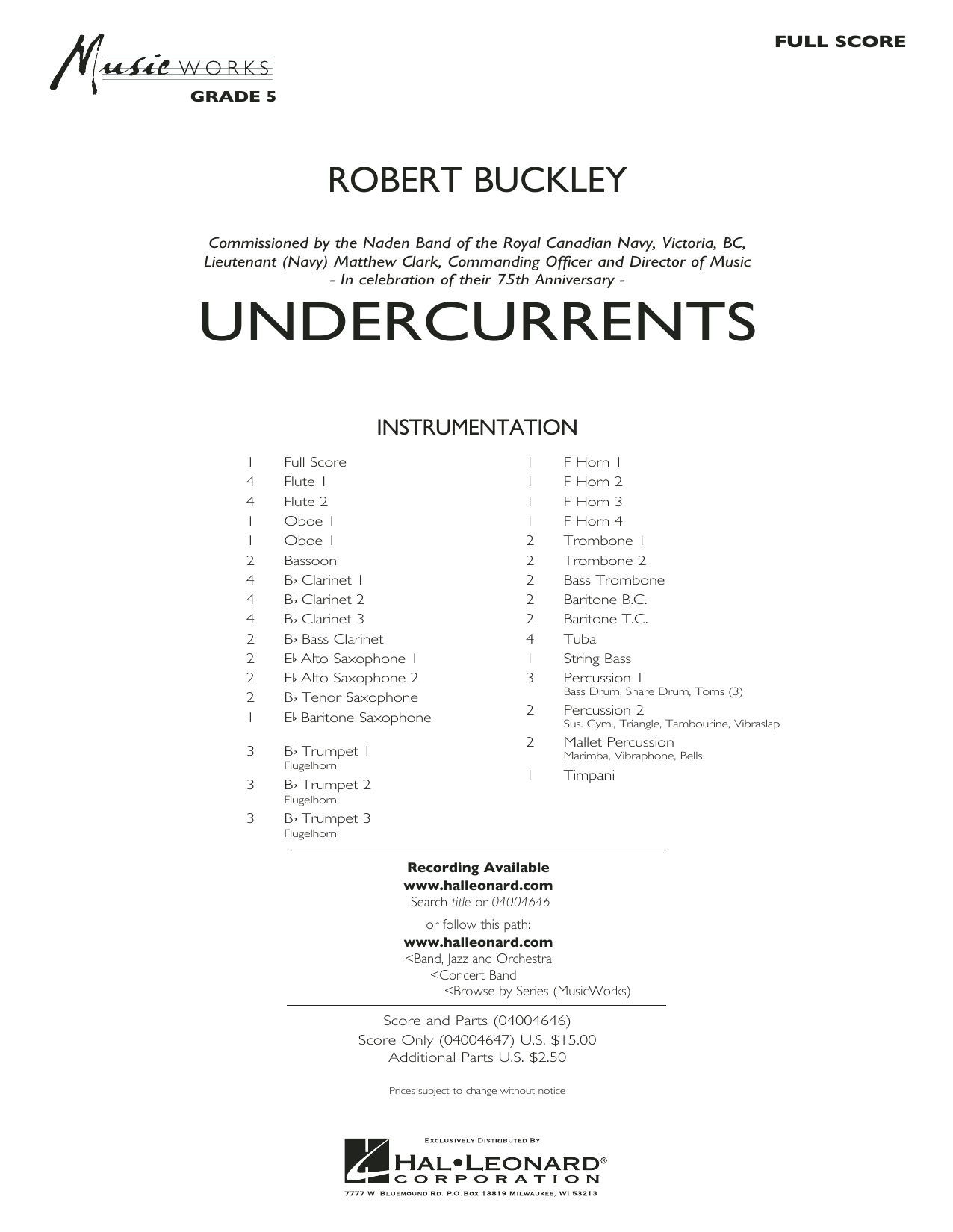 Undercurrents (COMPLETE) sheet music for concert band by Robert Buckley. Score Image Preview.