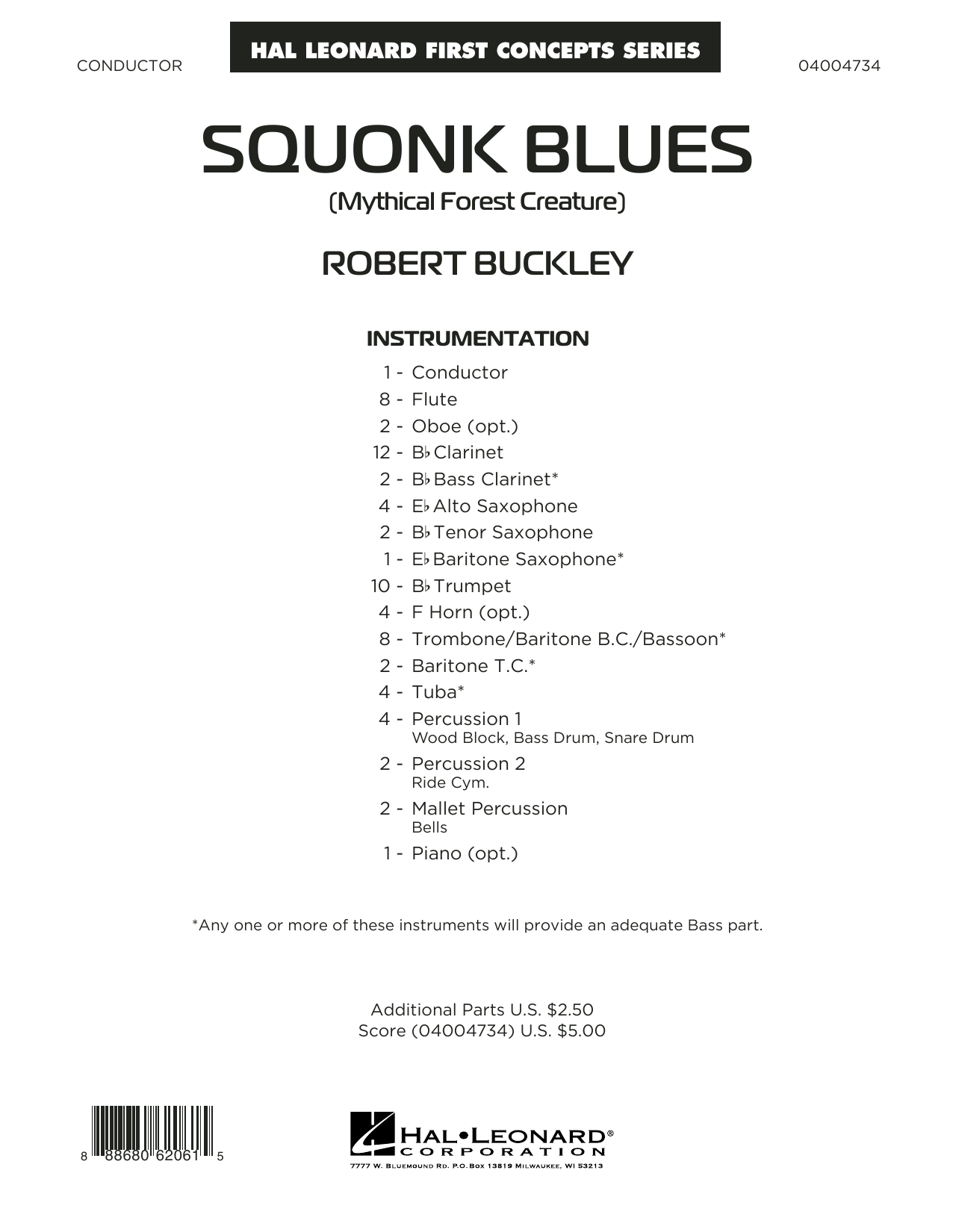 Squonk Blues (COMPLETE) sheet music for concert band by Robert Buckley. Score Image Preview.