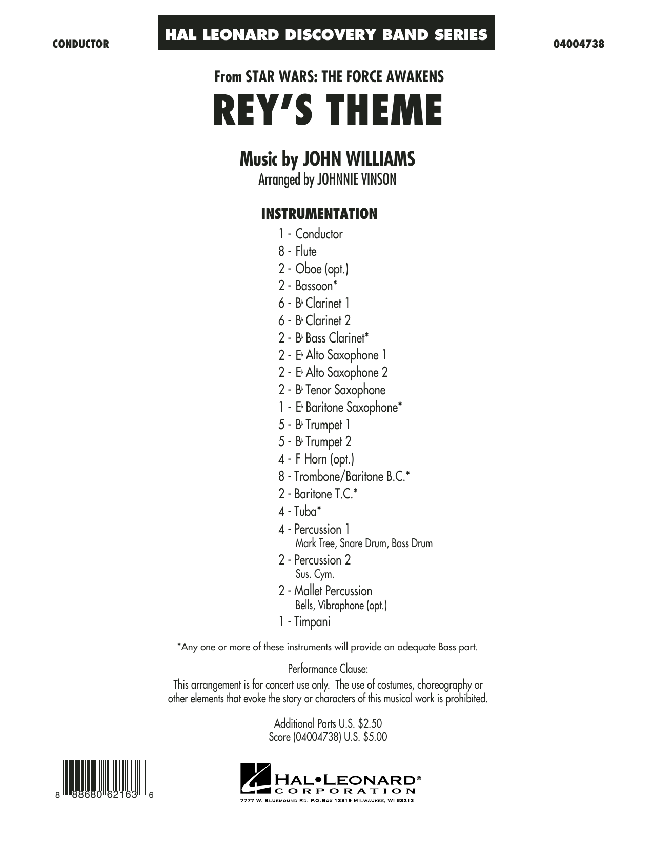 Rey's Theme (from Star Wars: The Force Awakens) (COMPLETE) sheet music for concert band by Johnnie Vinson and John Williams. Score Image Preview.