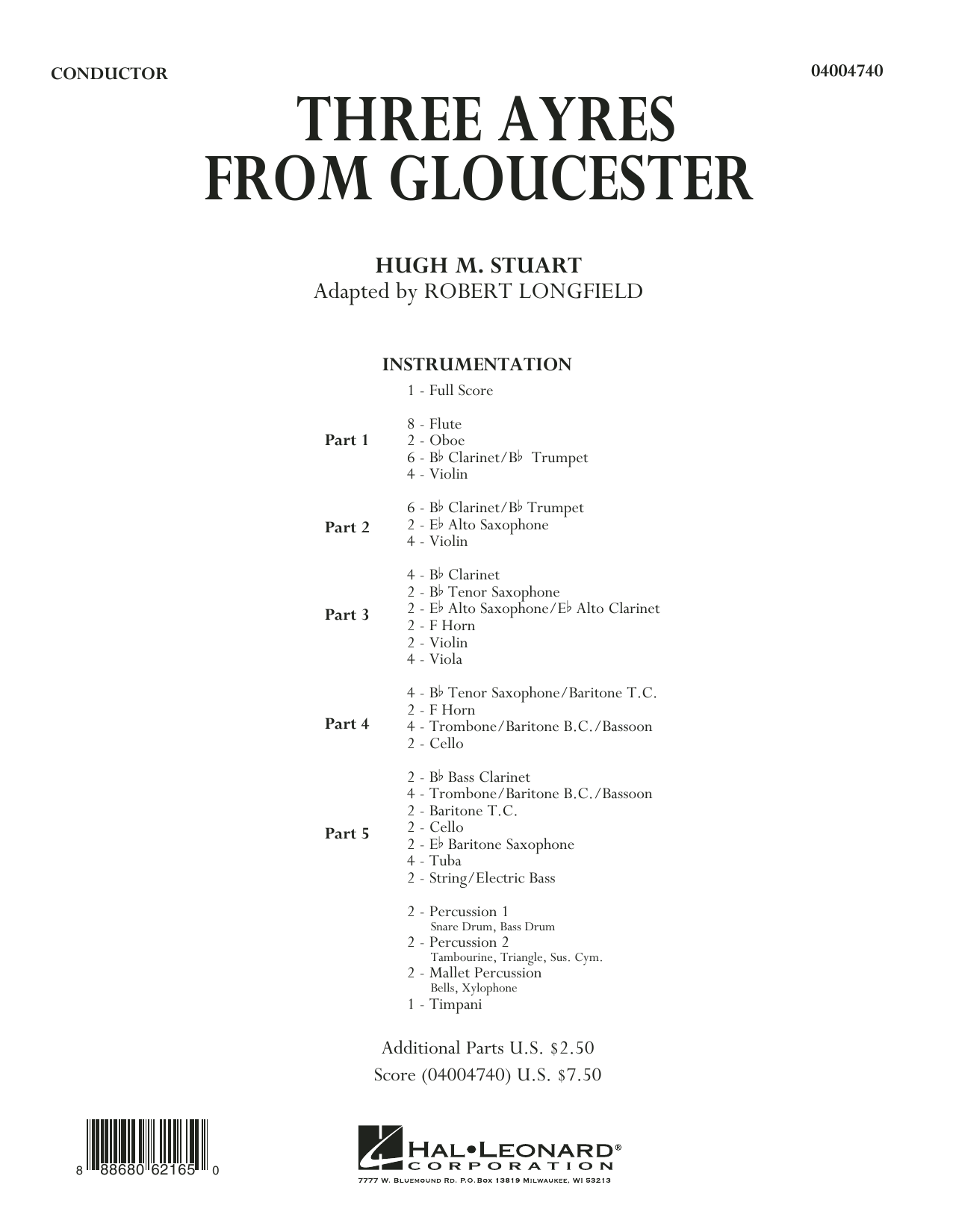 Three Ayres from Gloucester (COMPLETE) sheet music for concert band by Robert Longfield and Hugh M. Stuart. Score Image Preview.