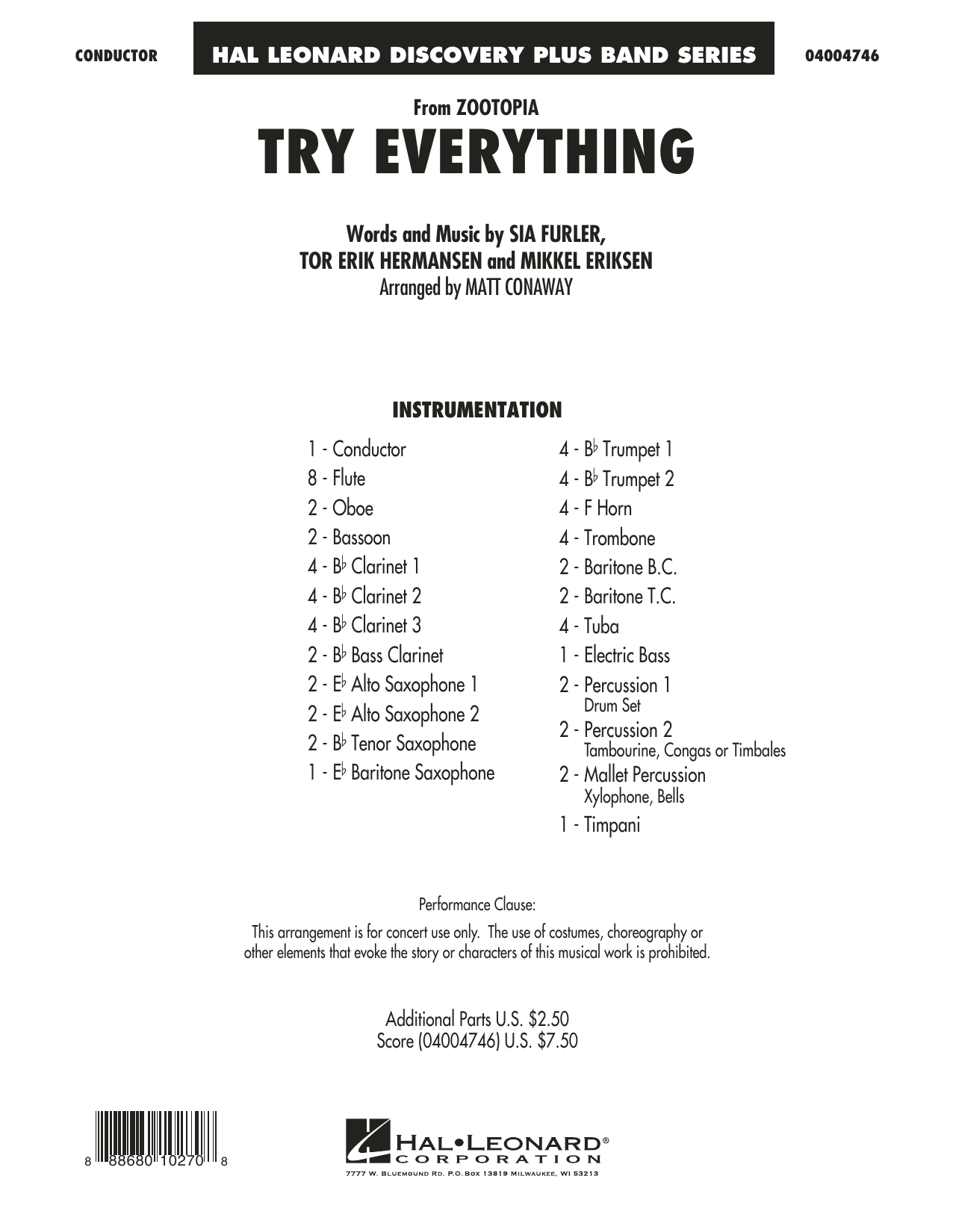 Try Everything (from Zootopia) (COMPLETE) sheet music for concert band by Matt Conaway, Mikkel Eriksen, Shakira, Sia Furler and Tor Erik Hermansen. Score Image Preview.