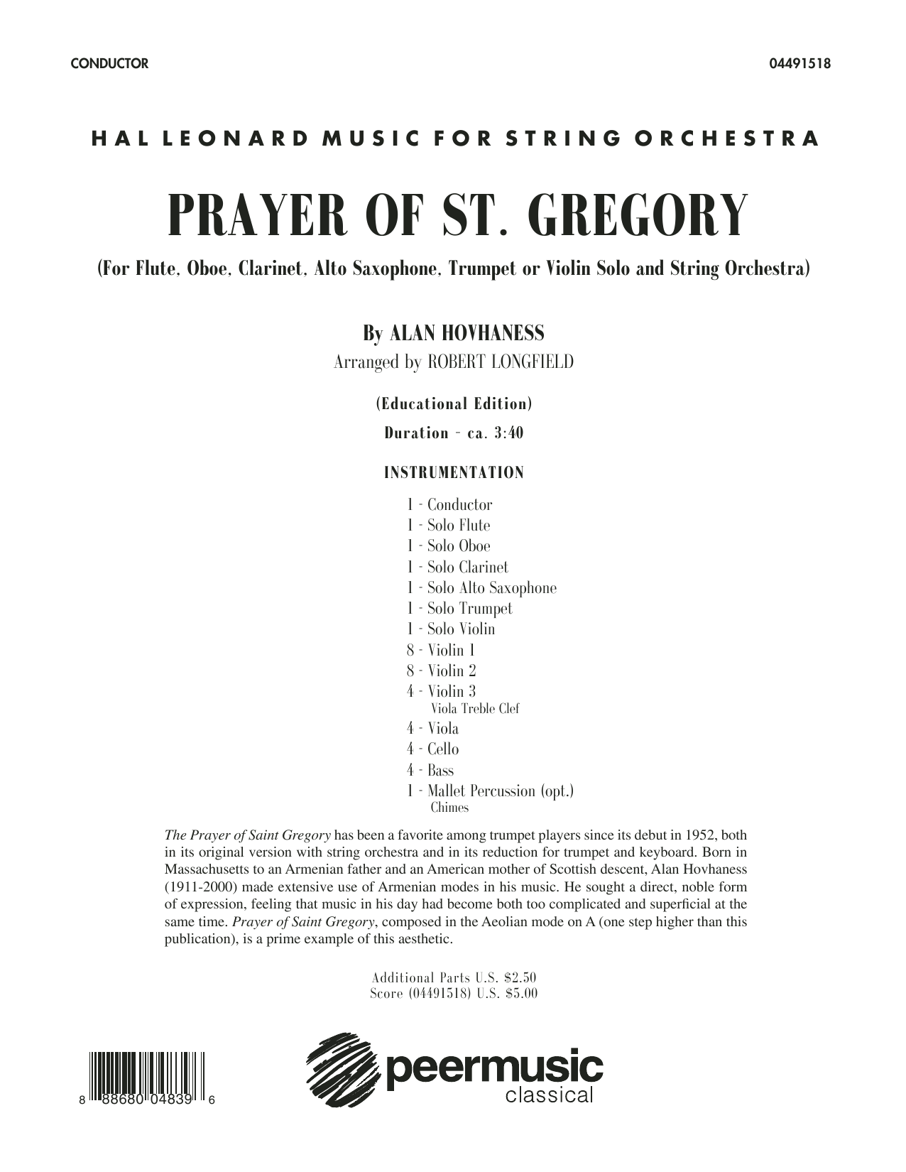 Prayer of St. Gregory (Educational Edition) (COMPLETE) sheet music for orchestra by Robert Longfield and Alan Hovhaness. Score Image Preview.