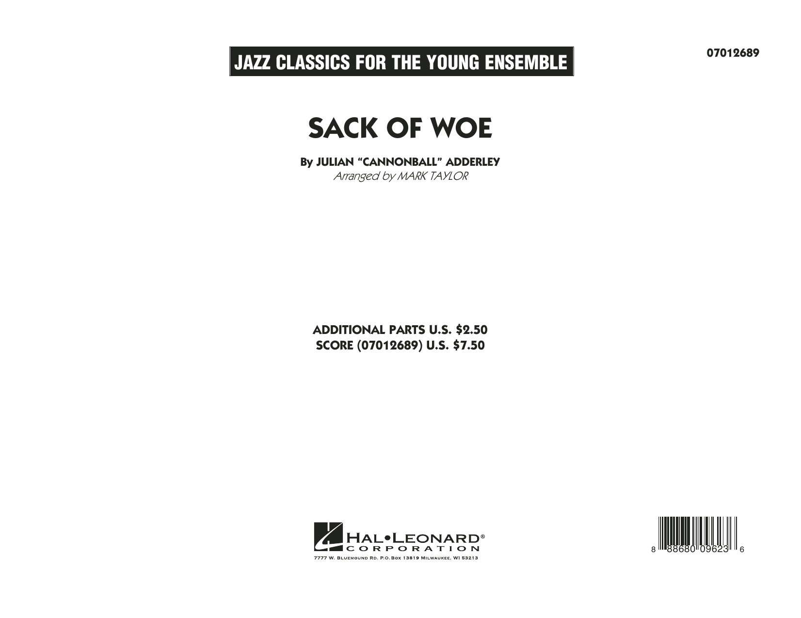Sack of Woe (COMPLETE) sheet music for jazz band by Mark Taylor, George Benson and Julian Adderley. Score Image Preview.
