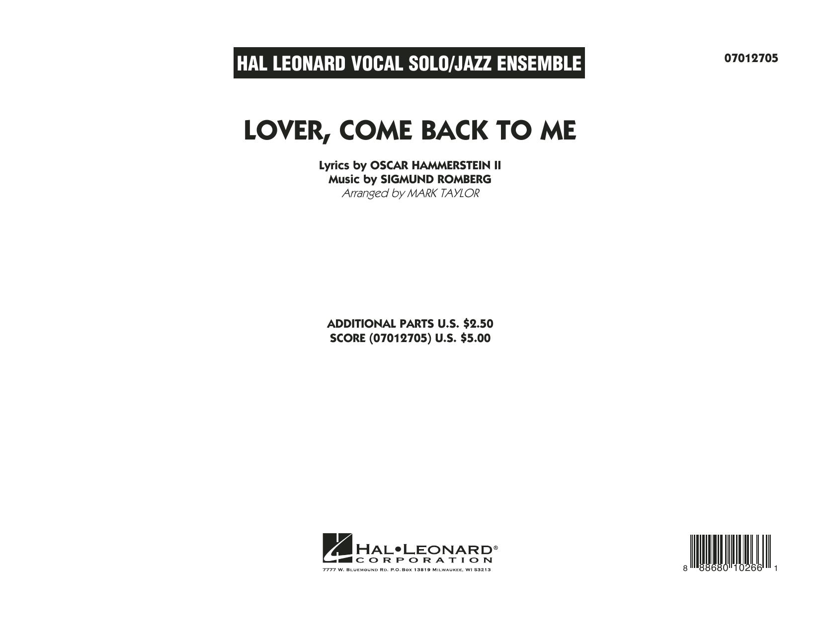 Lover Come Back to Me (Key: B-Flat) - Conductor Score (Full Score) (Jazz Ensemble)