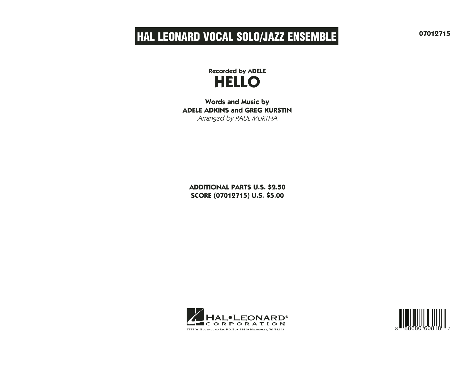 Hello (COMPLETE) sheet music for jazz band by Adele, Greg Kurstin and Paul Murtha. Score Image Preview.