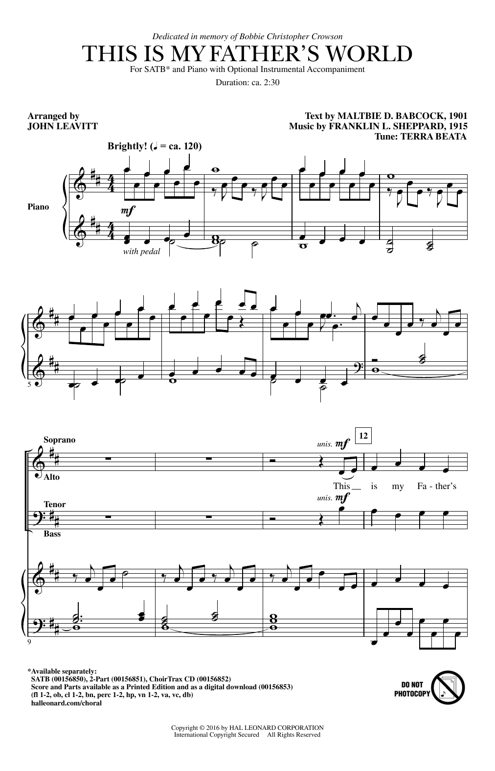 Partition chorale This Is My Father's World de John Leavitt - SATB