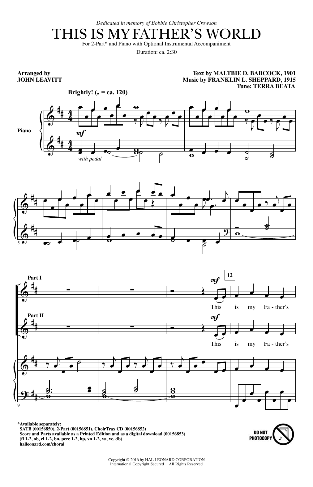This Is My Father's World (2-Part Choir)