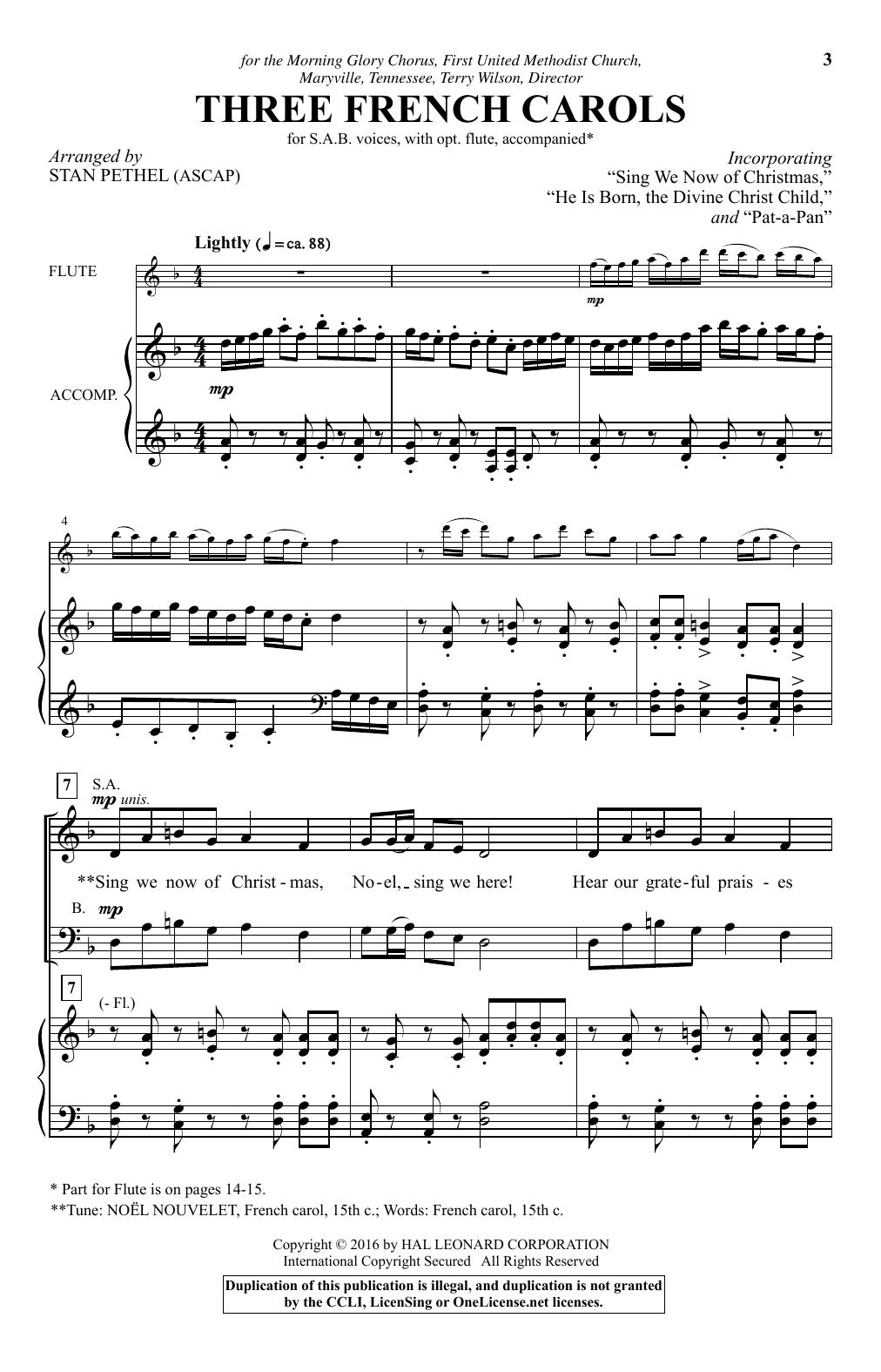 Three French Carols (SAB Choir)
