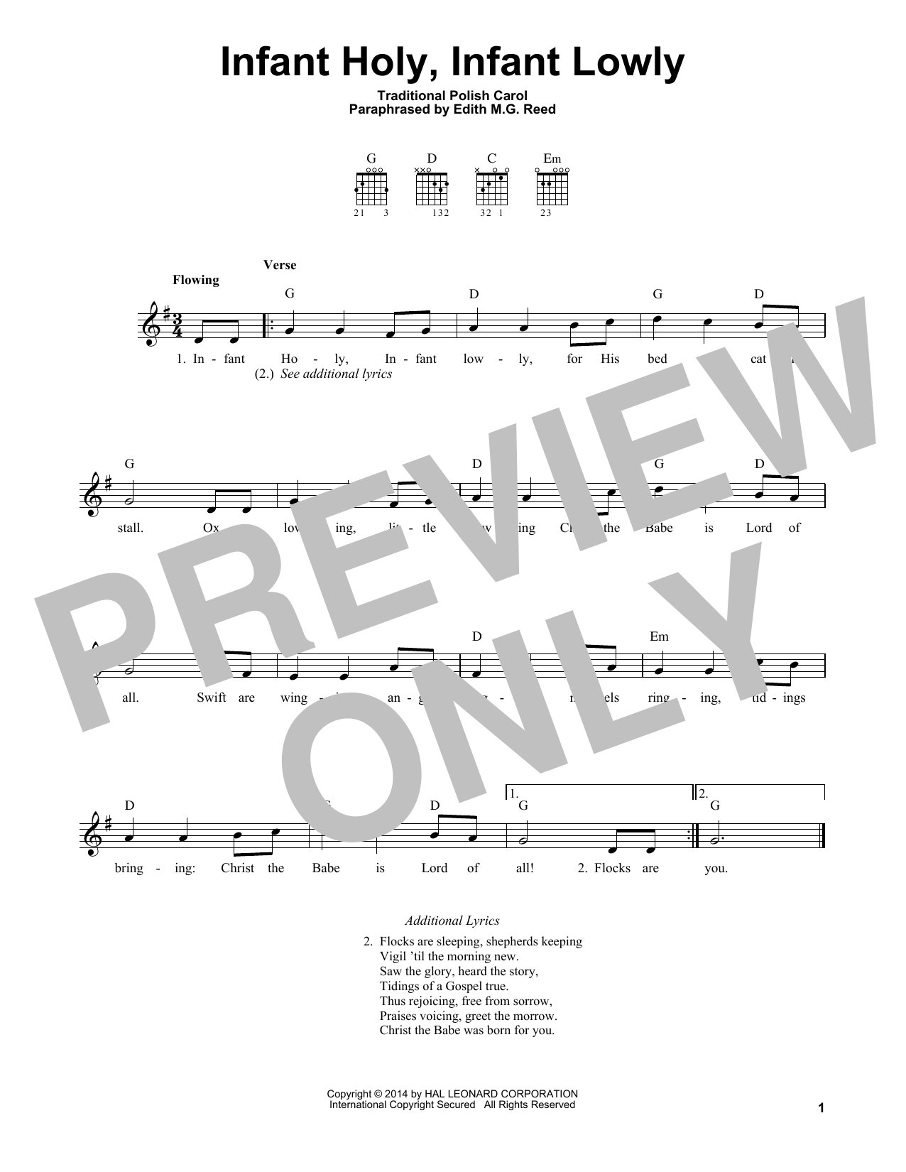 Infant Holy, Infant Lowly (Easy Guitar)