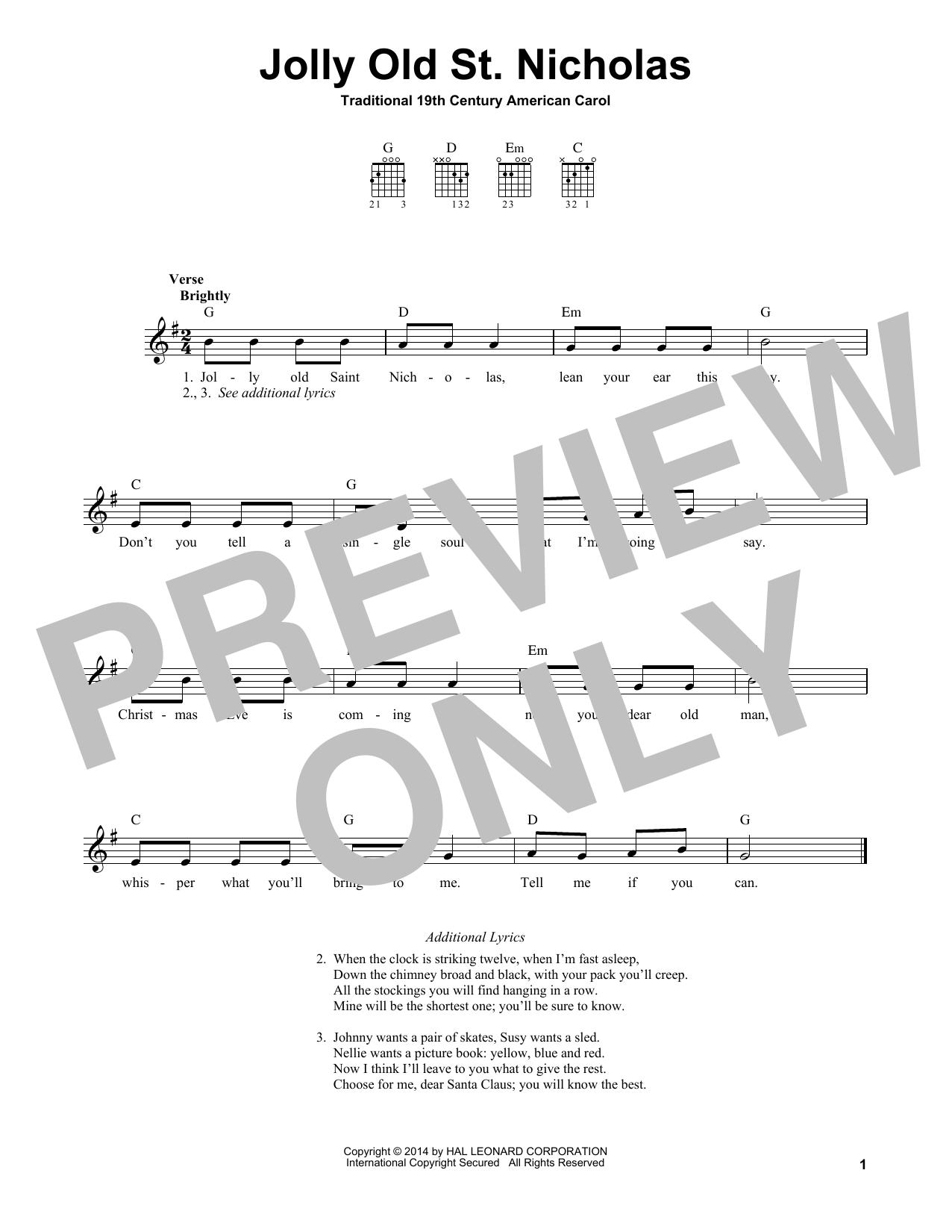 Jolly Old St. Nicholas (Easy Guitar)